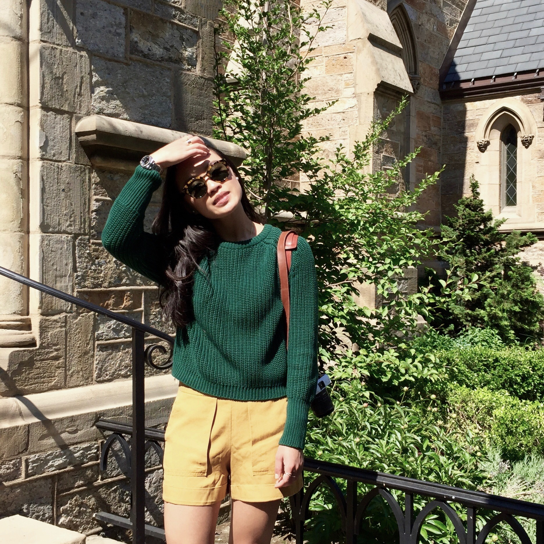 Just Goh With It-Outfit-American-Apparel-forest-Green-Sweater-Zara-Mustard-Yellow-Shorts-dvf-wedges-5.jpg