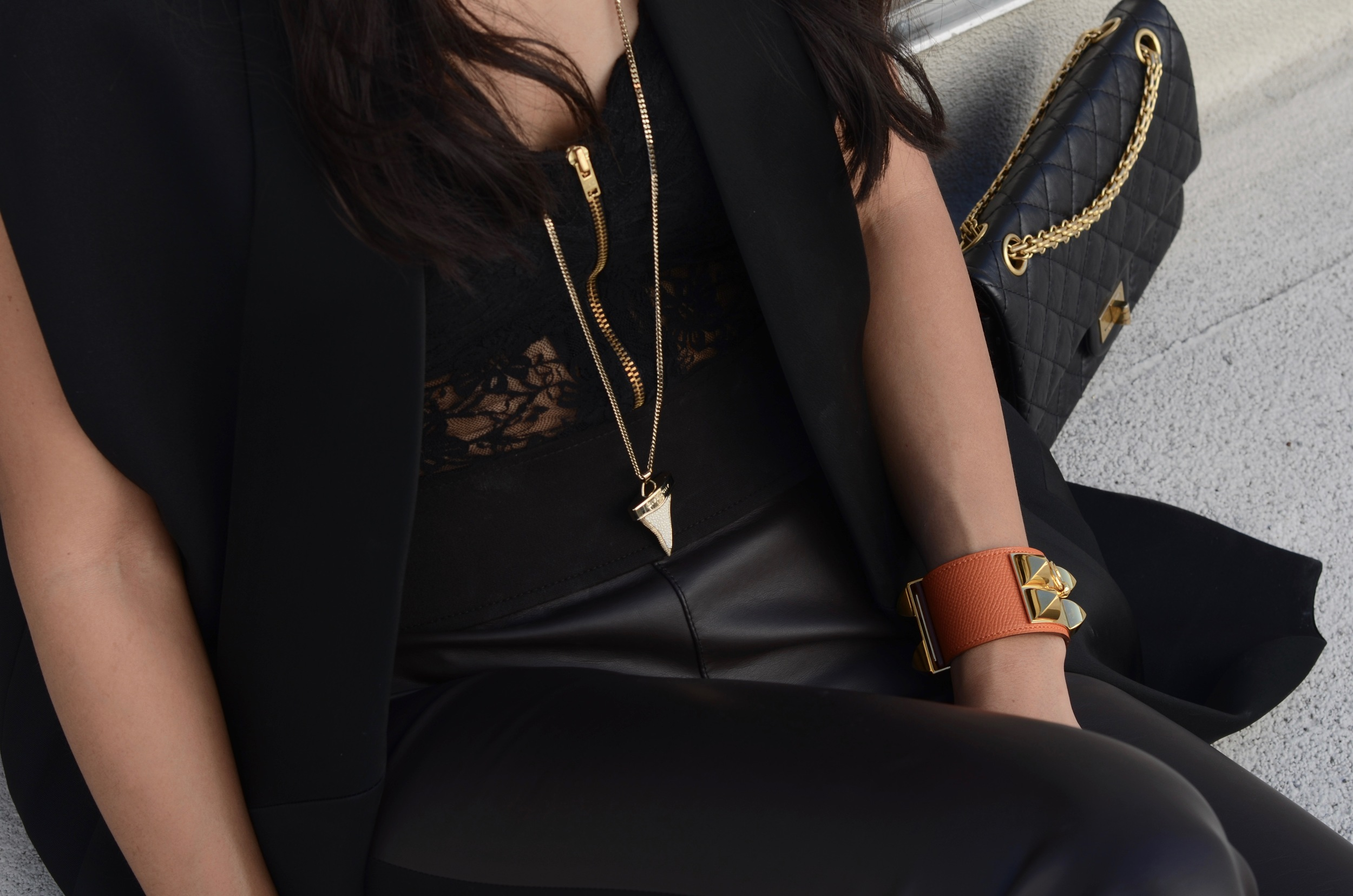 Just Goh With It-Outfit-black-lanvin-cutout-ankle-boots-hm-balmain-sleeveless-blazer-leather-chanel-classic-1.jpg