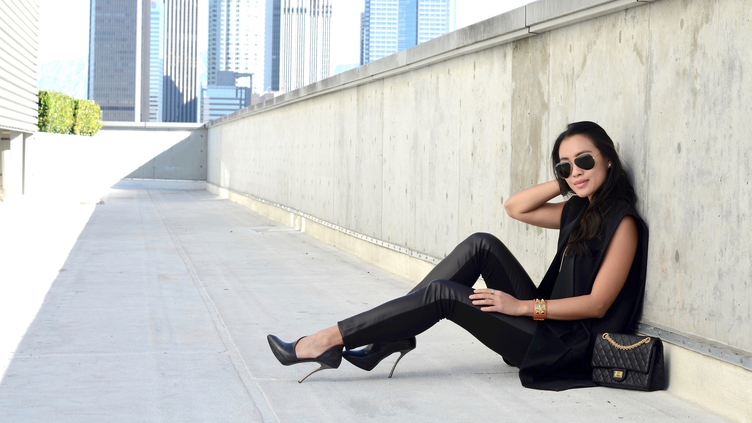 Just Goh With It-Outfit-black-lanvin-cutout-ankle-boots-hm-balmain-sleeveless-blazer-leather-chanel-classic-2.jpg