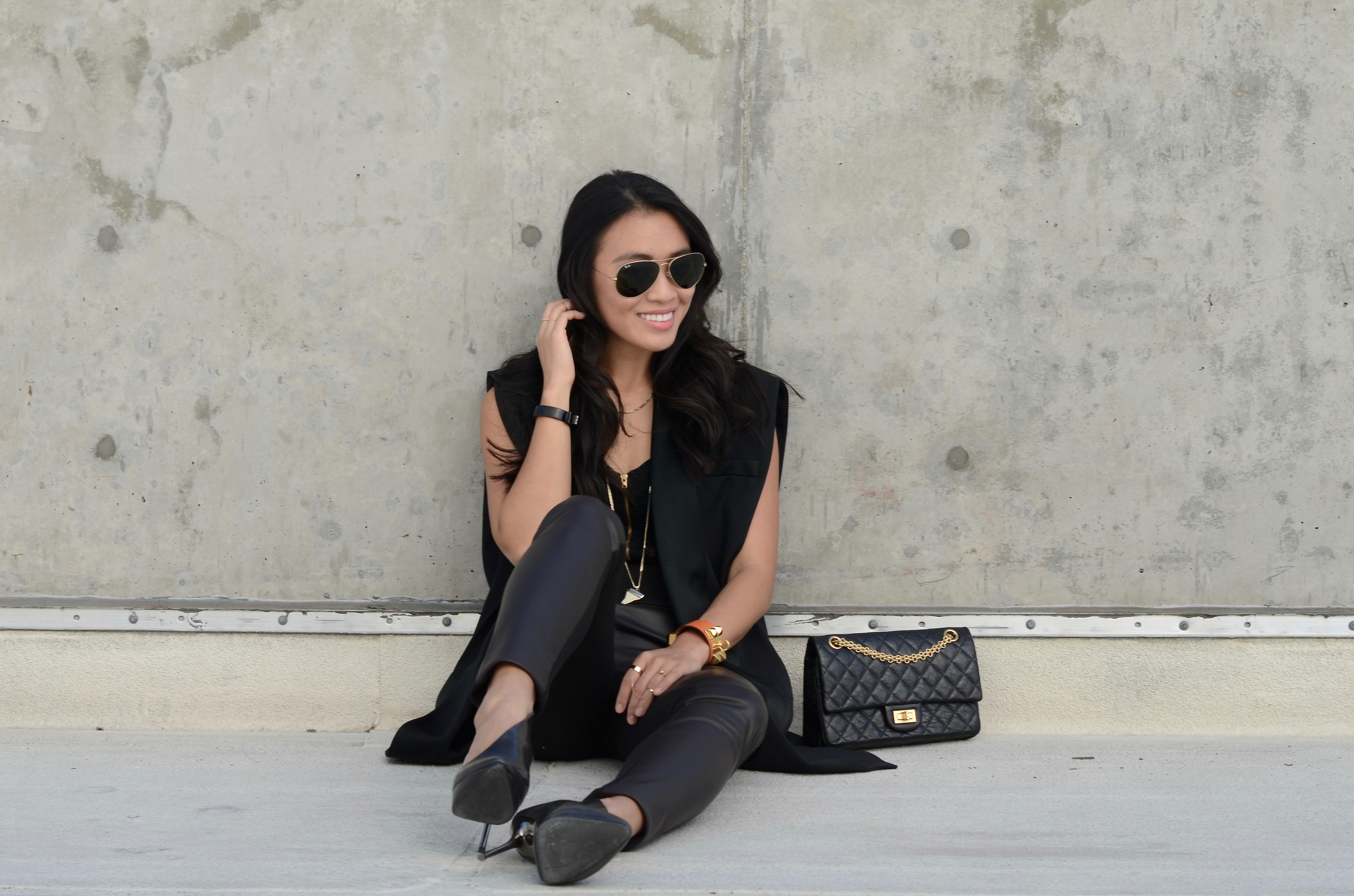 Just Goh With It-Outfit-black-lanvin-cutout-ankle-boots-hm-balmain-sleeveless-blazer-leather-chanel-classic-4.jpg