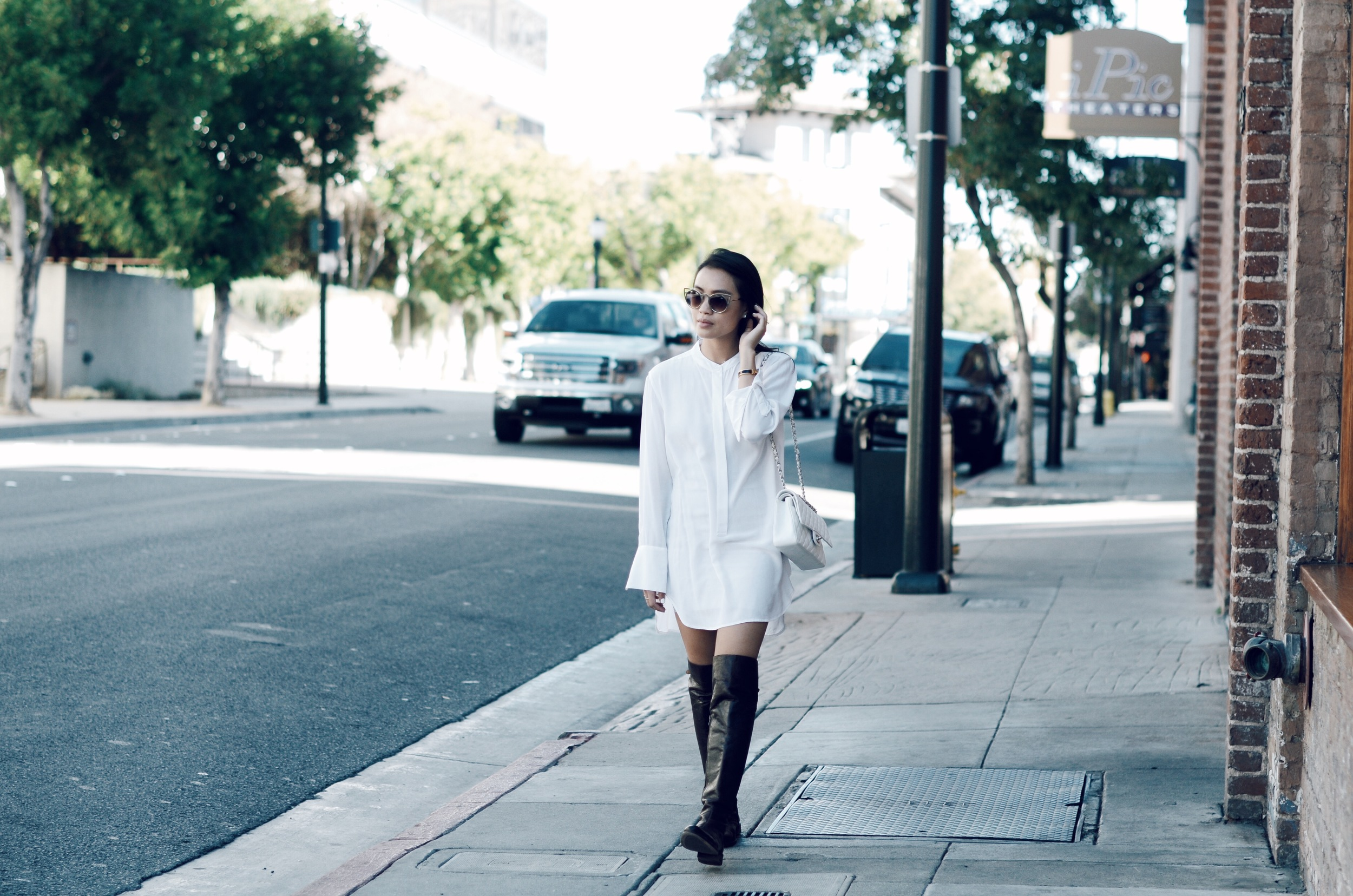 Just Goh With It-Outfit-white-silk-dresss-over-the-knee-boots-cat-eye-classic-chanel-2.jpg