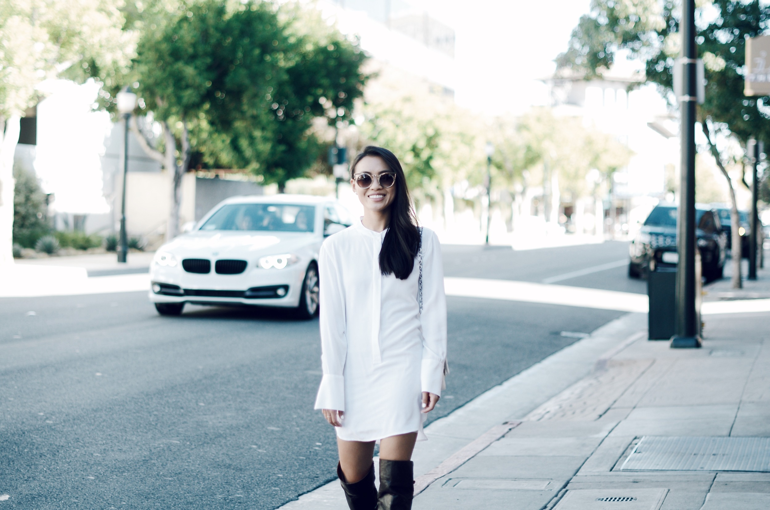 Just Goh With It-Outfit-white-silk-dresss-over-the-knee-boots-cat-eye-classic-chanel-3.jpg