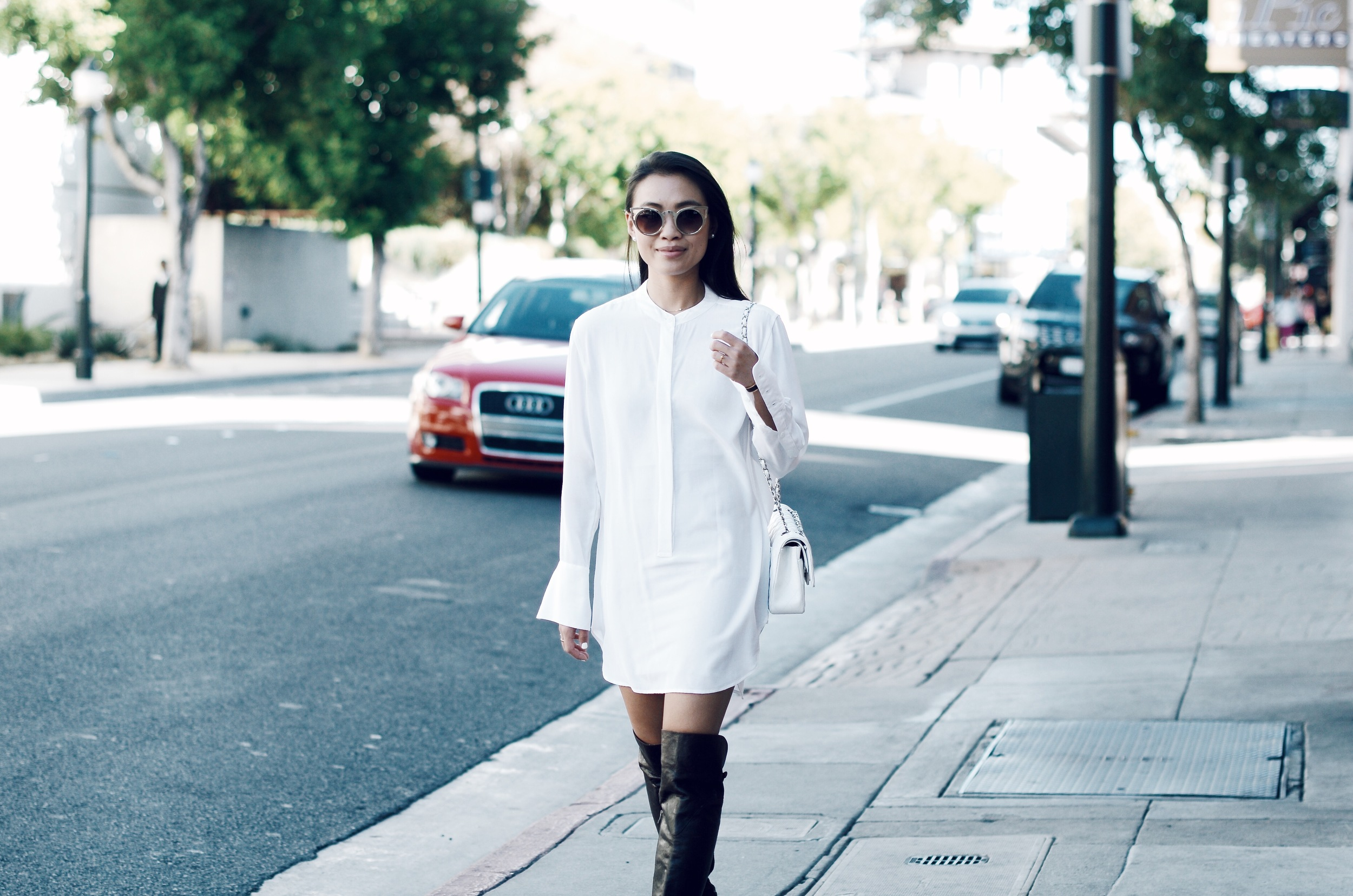 Just Goh With It-Outfit-white-silk-dresss-over-the-knee-boots-cat-eye-classic-chanel-4.jpg