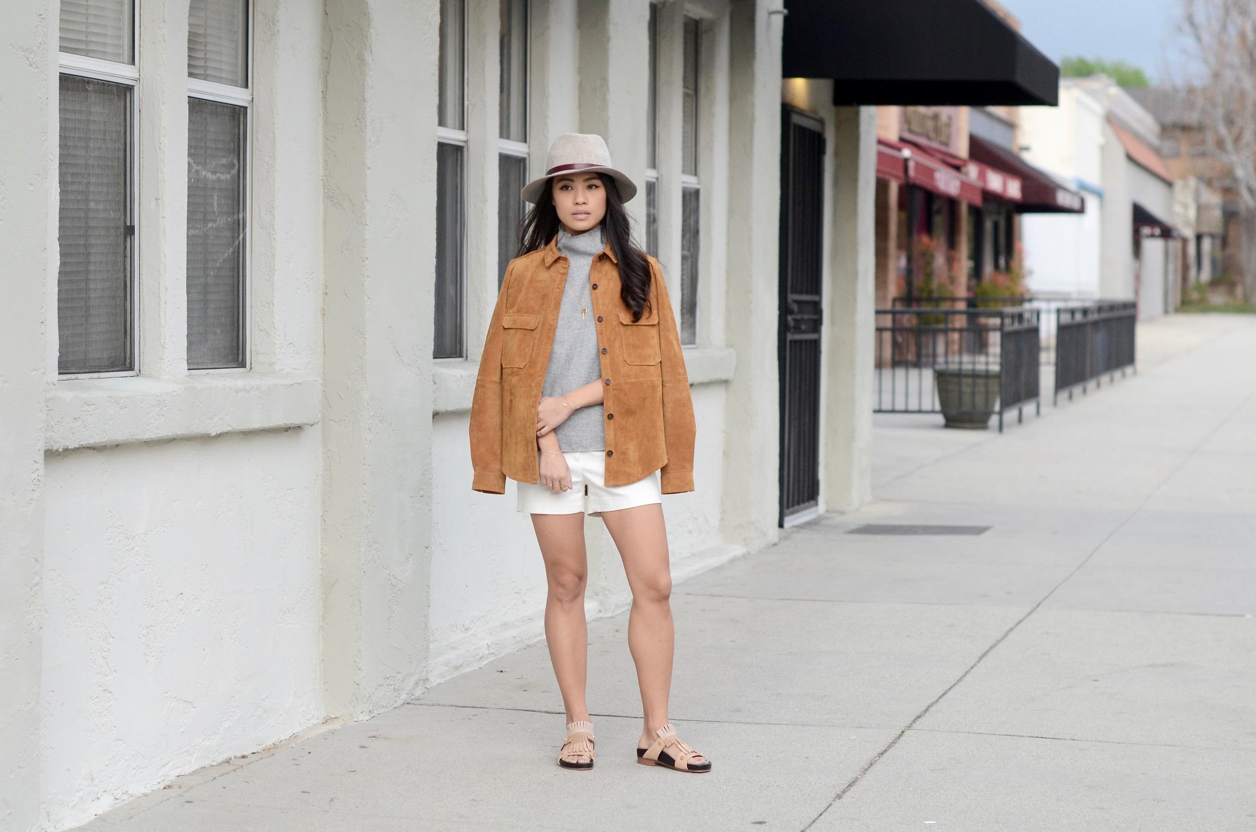 Just Goh With It-Outfits-Suede-jacket-mockneck-hat-chloe-fringe-sandals-4.jpg