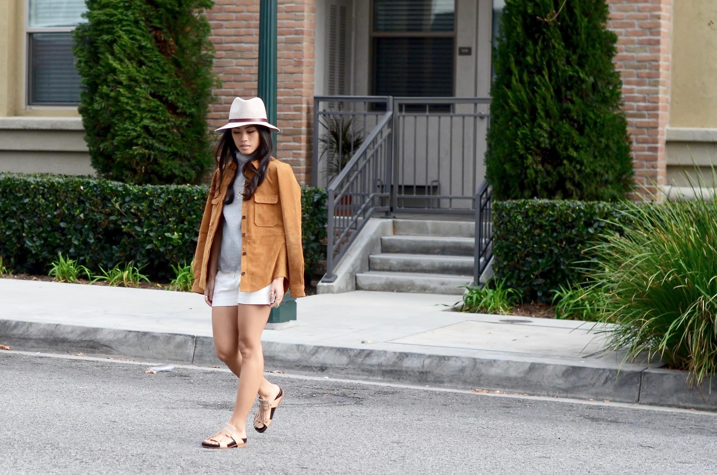Just Goh With It-Outfits-Suede-jacket-mockneck-hat-chloe-fringe-sandals-6.jpg