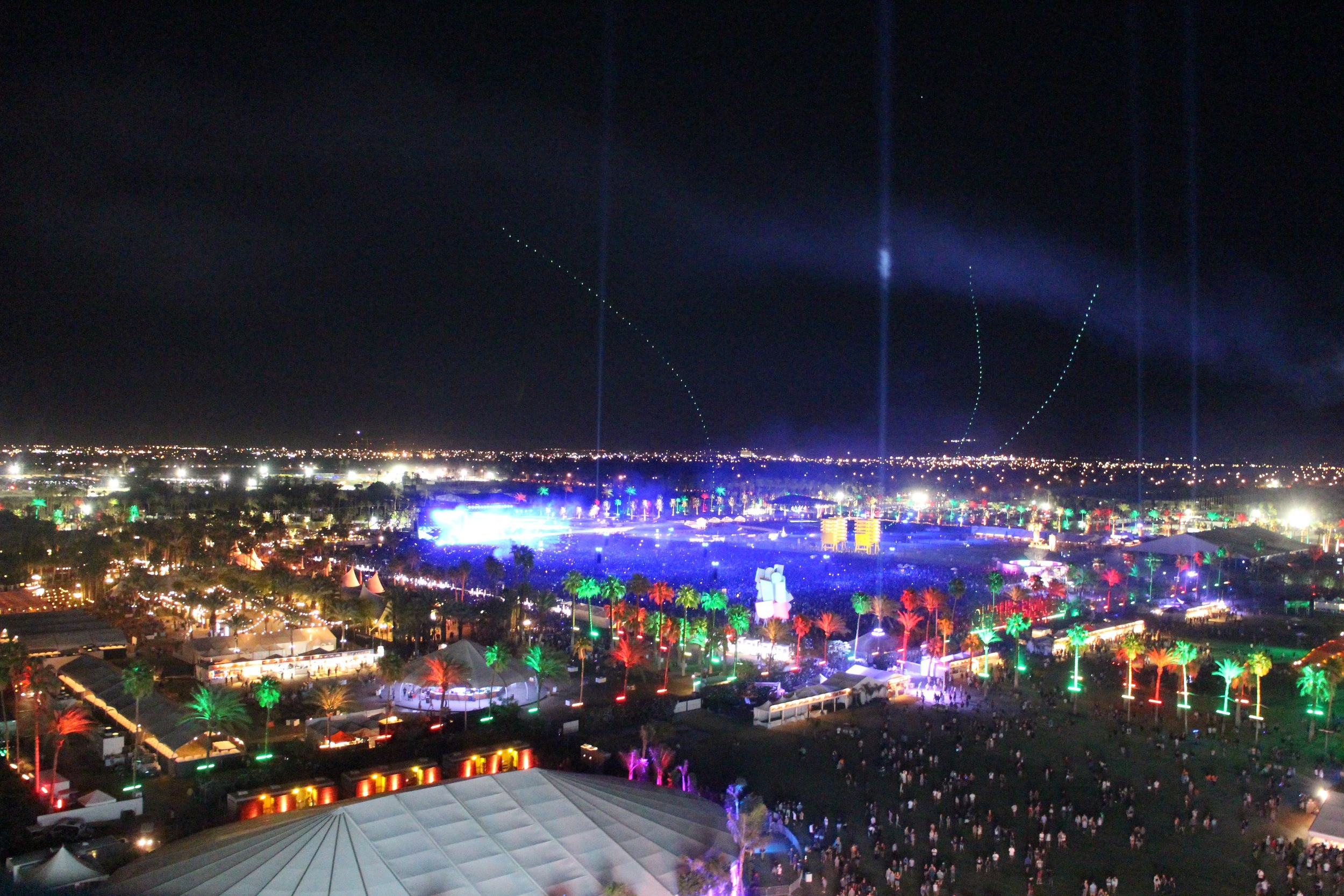 View of festival grounds from the ferris wheel - the purplish section is  filled  with people lined up for Calvin Harris (and Rihanna, which I completely missed because I was hanging out on said ferris wheel... *cries*) !