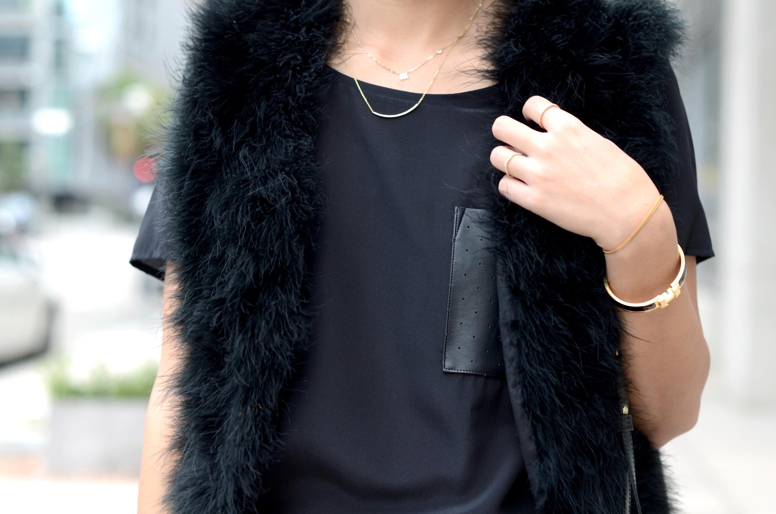 Just Goh With It-Outfit-topshop-feather-vest-club-monaco-jacquard-printed-pants-mansur-gavriel-bucket-bag-illesteva-2.jpg