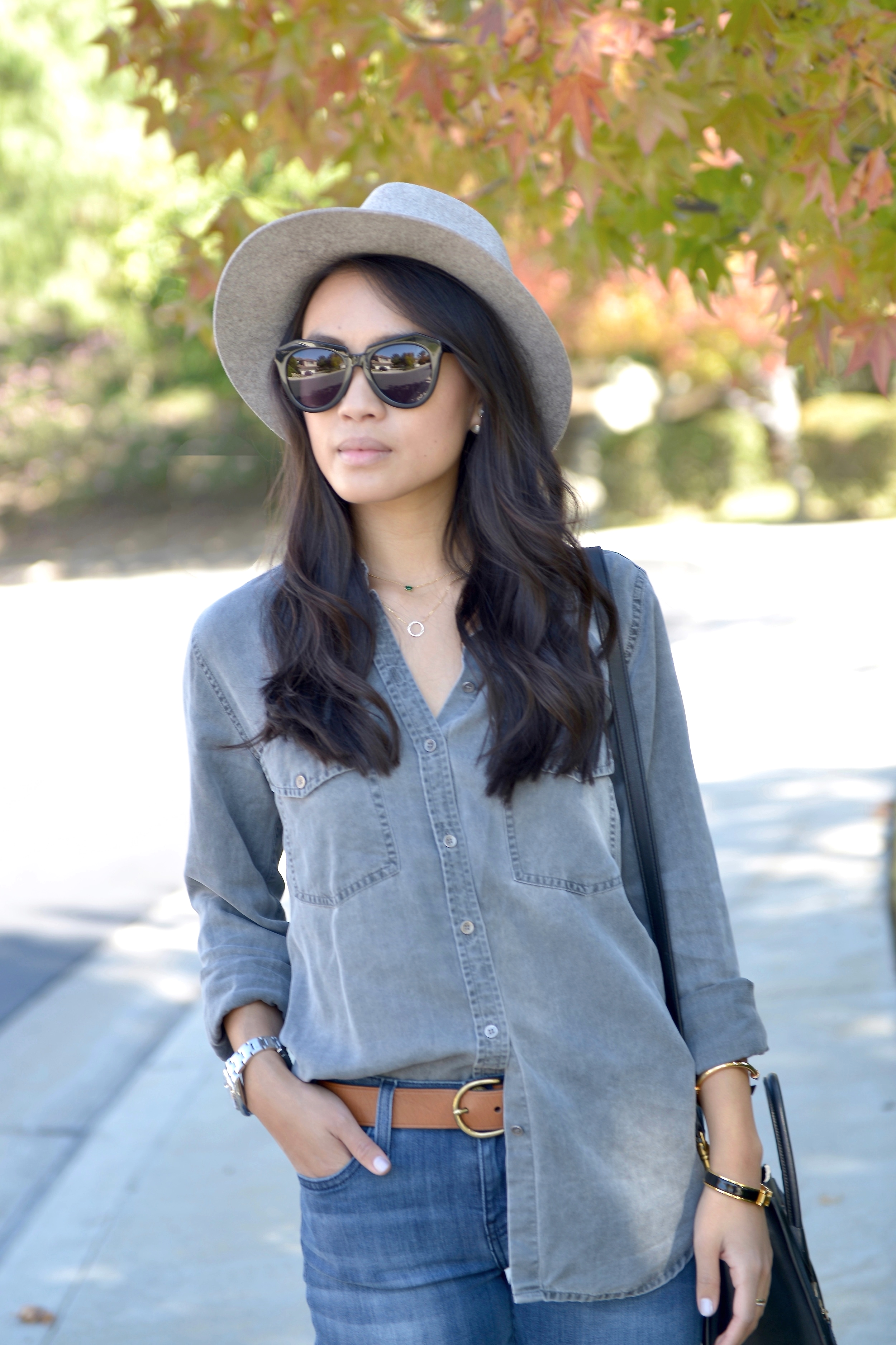Just Goh With It-Outfit-Current-Elliott-Shirt-Blue-Jeans-Chloe-Susanna-Ankle-Boots-1.jpg