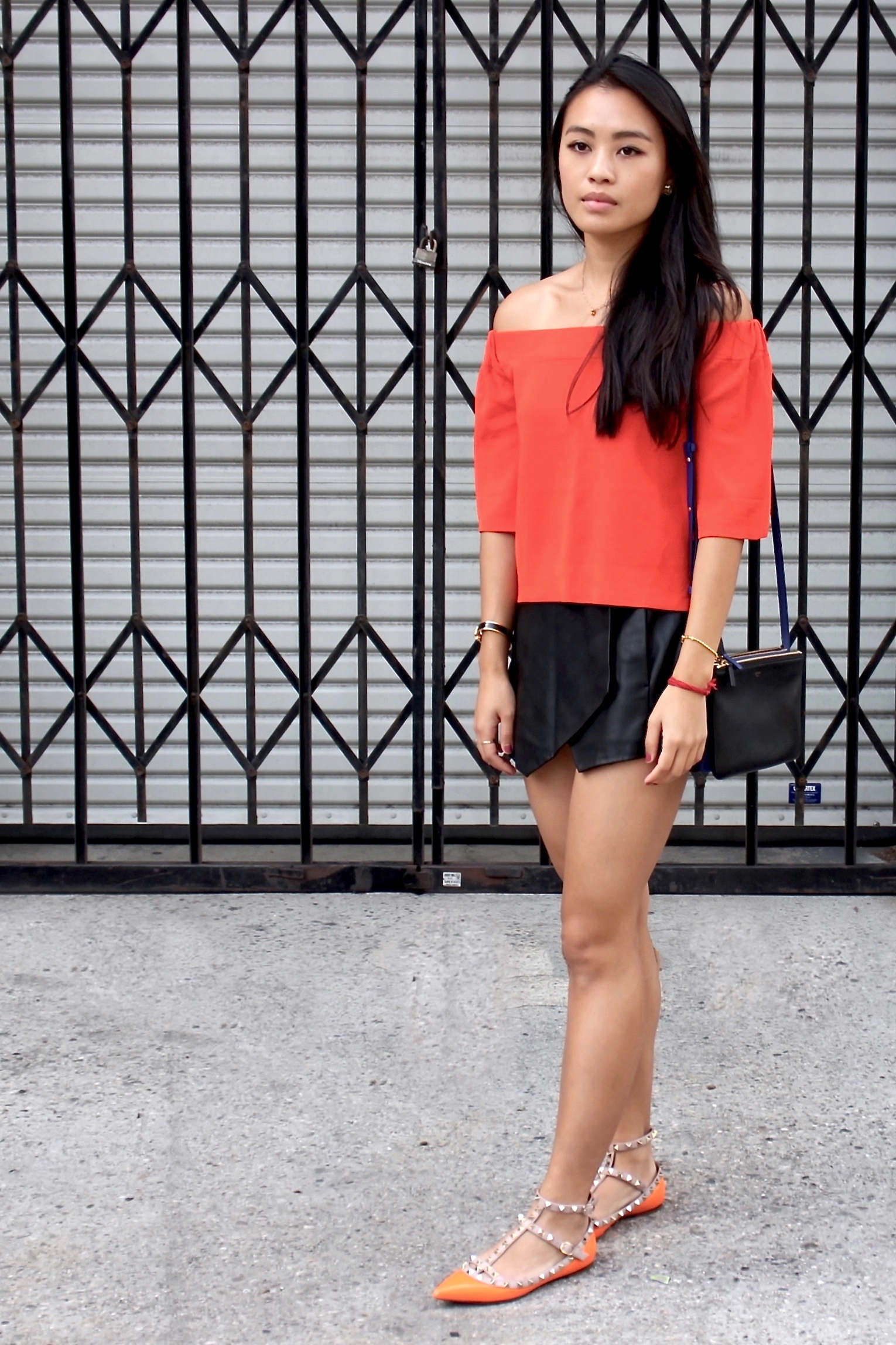 Just Goh With It-Outfit-Asos-Orange-Off-Shoulder-Top-Zara-black-Leather-Skirt-Skort-valentino-rockstud-flats-1.jpg
