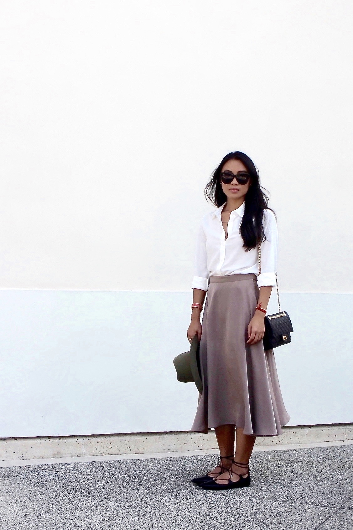 Just Goh With It-Outfit-Uniqlo-Shirt-american-apparel-Midi-Skirt-topshop-Lace-up-Flats-rag-and-bone-hat-3.jpg