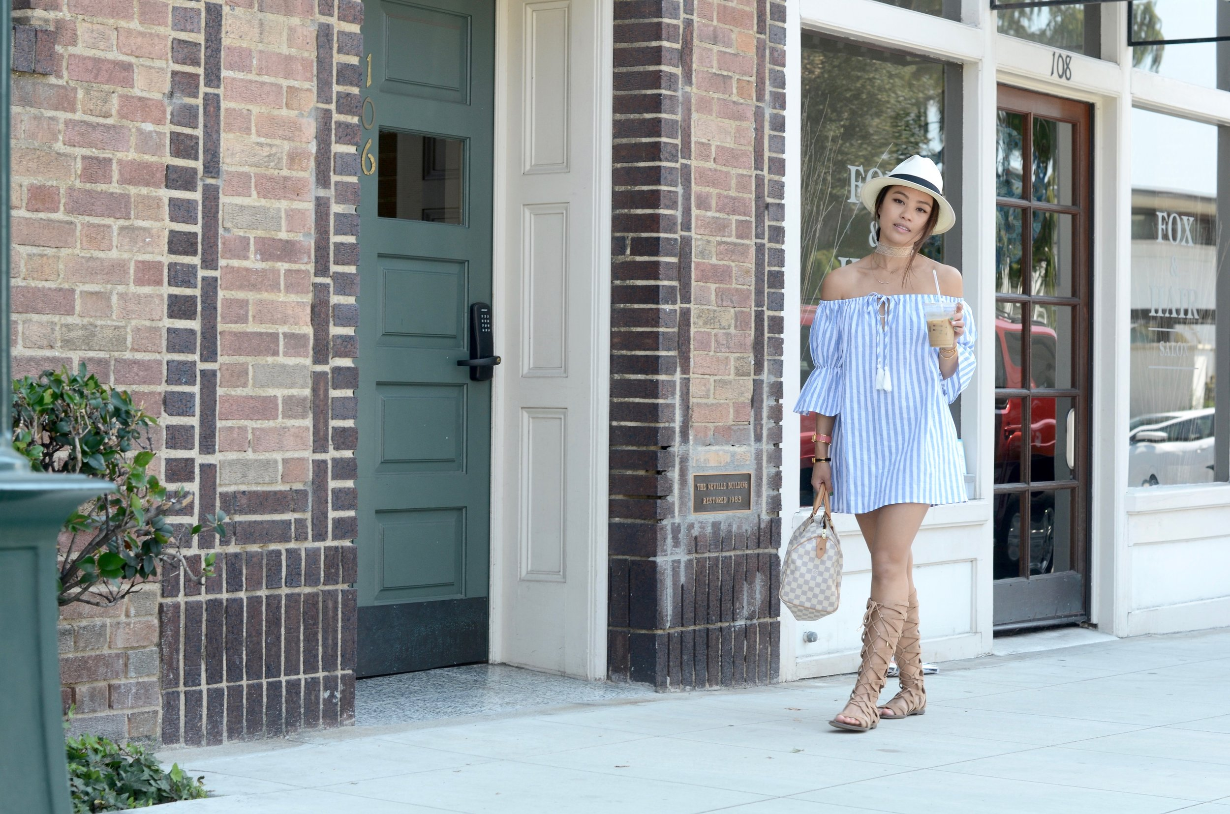 Just Goh With It-Outfit-Off-Shoulder-Blue-Striped-Dress-Gladiator-Sandals-LV-Speedy-Fedora-15.jpg