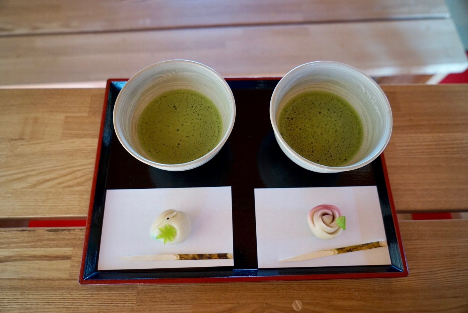 matcha and traditional sweets at the tea house