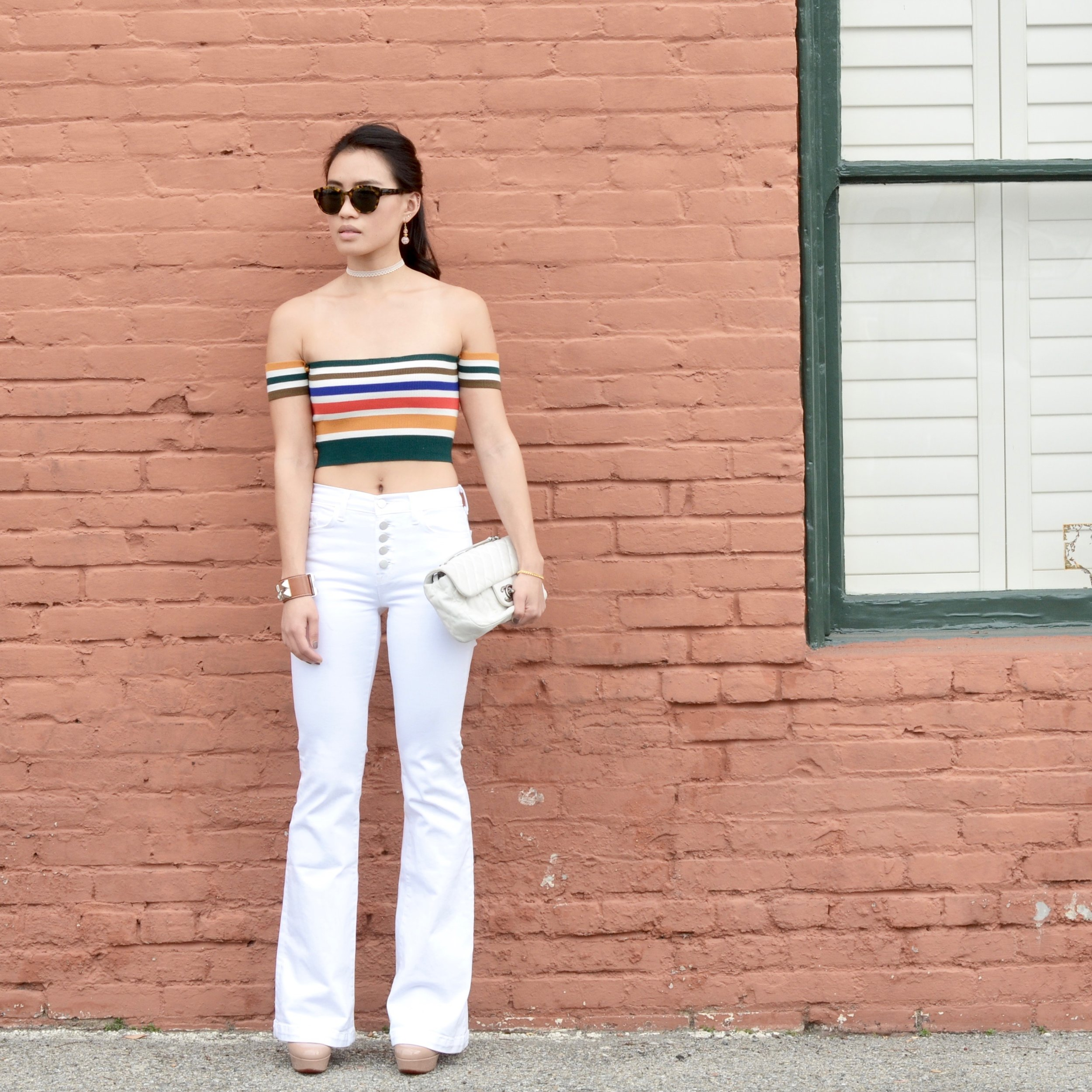 Just Goh With It - Urban Outfitters Striped Top White Flare Jeans - 1.jpg