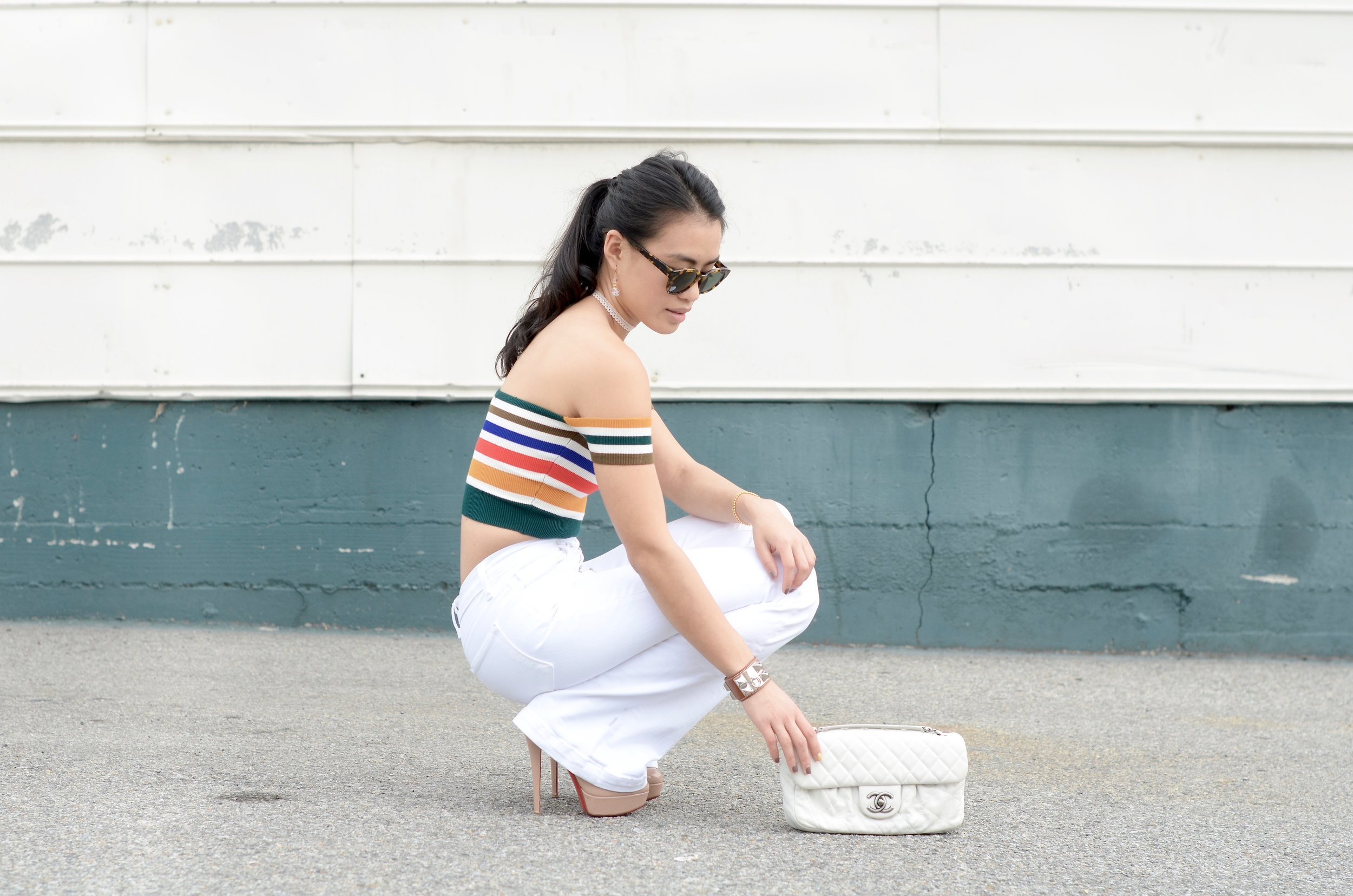 Just Goh With It - Urban Outfitters Striped Top White Flare Jeans - 2.jpg