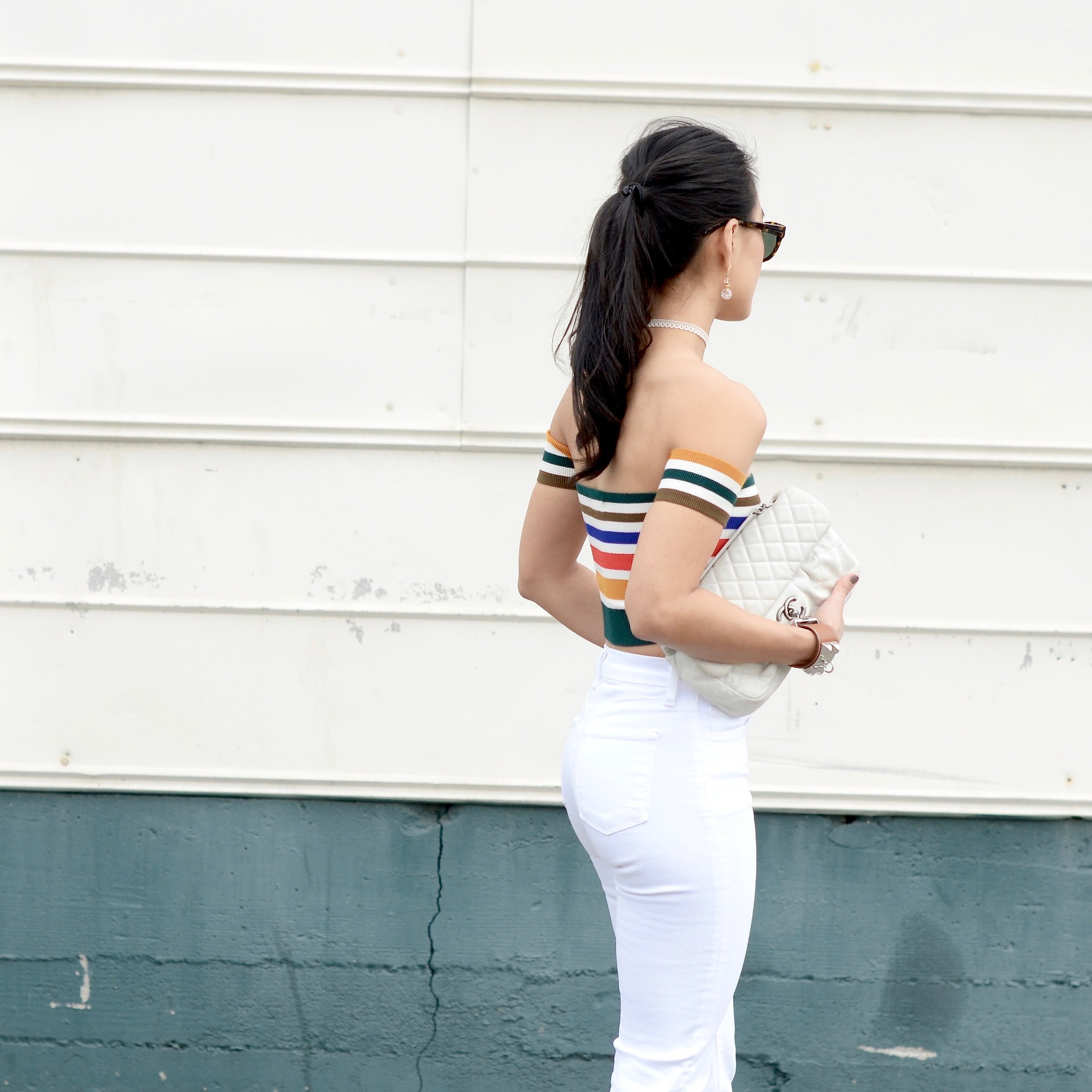 Just Goh With It - Urban Outfitters Striped Top White Flare Jeans - 5.jpg