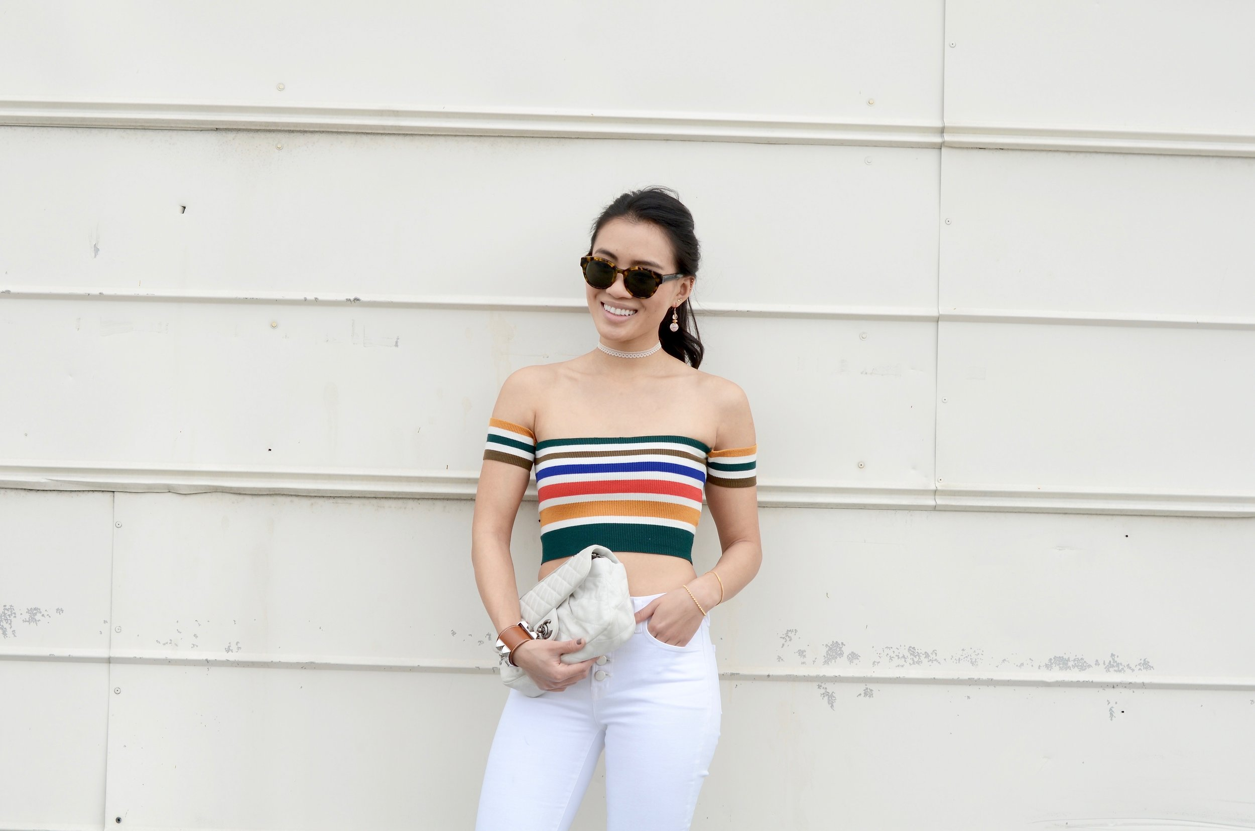 Just Goh With It - Urban Outfitters Striped Top White Flare Jeans - 9.jpg