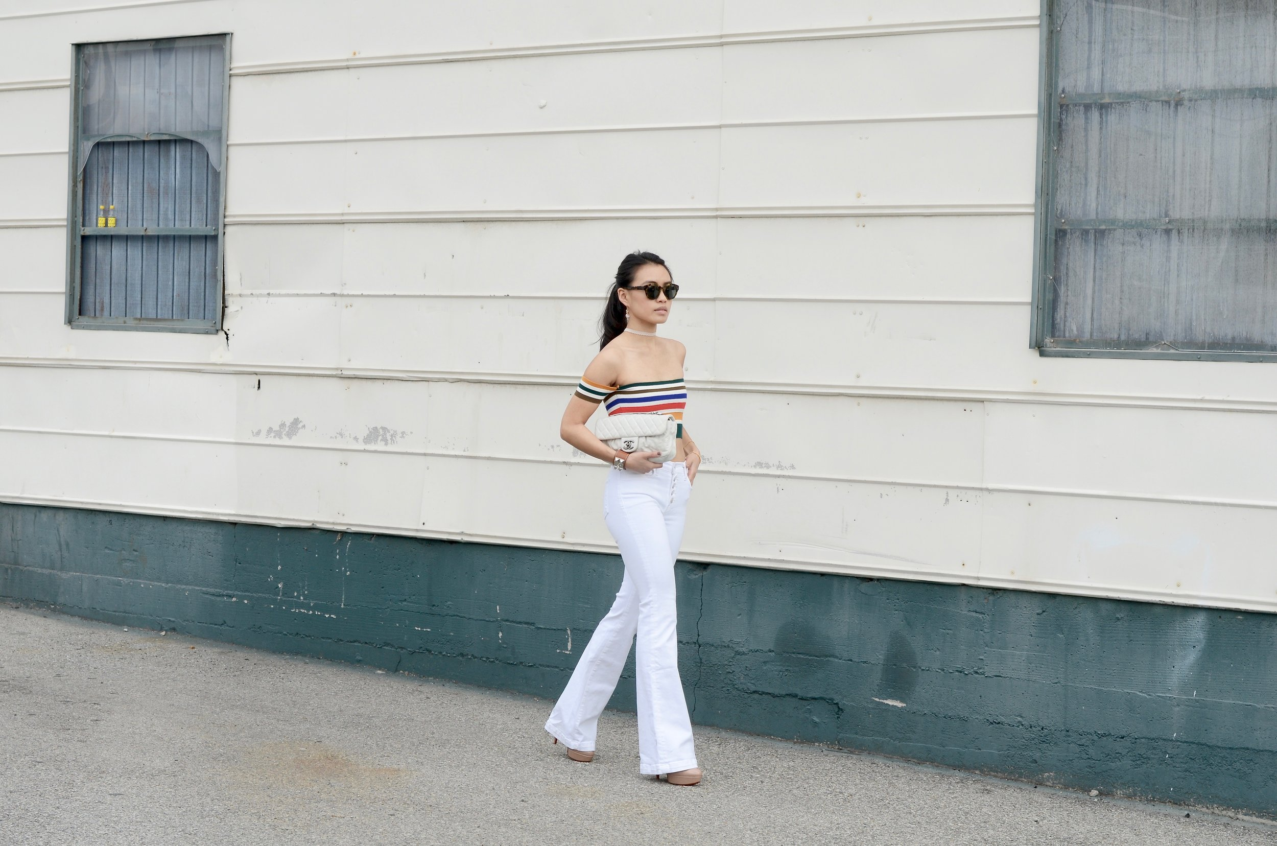 Just Goh With It - Urban Outfitters Striped Top White Flare Jeans - 11.jpg