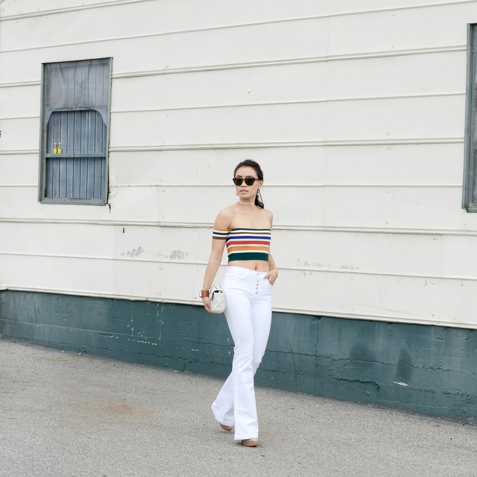 Just Goh With It - Urban Outfitters Striped Top White Flare Jeans - 10.jpg