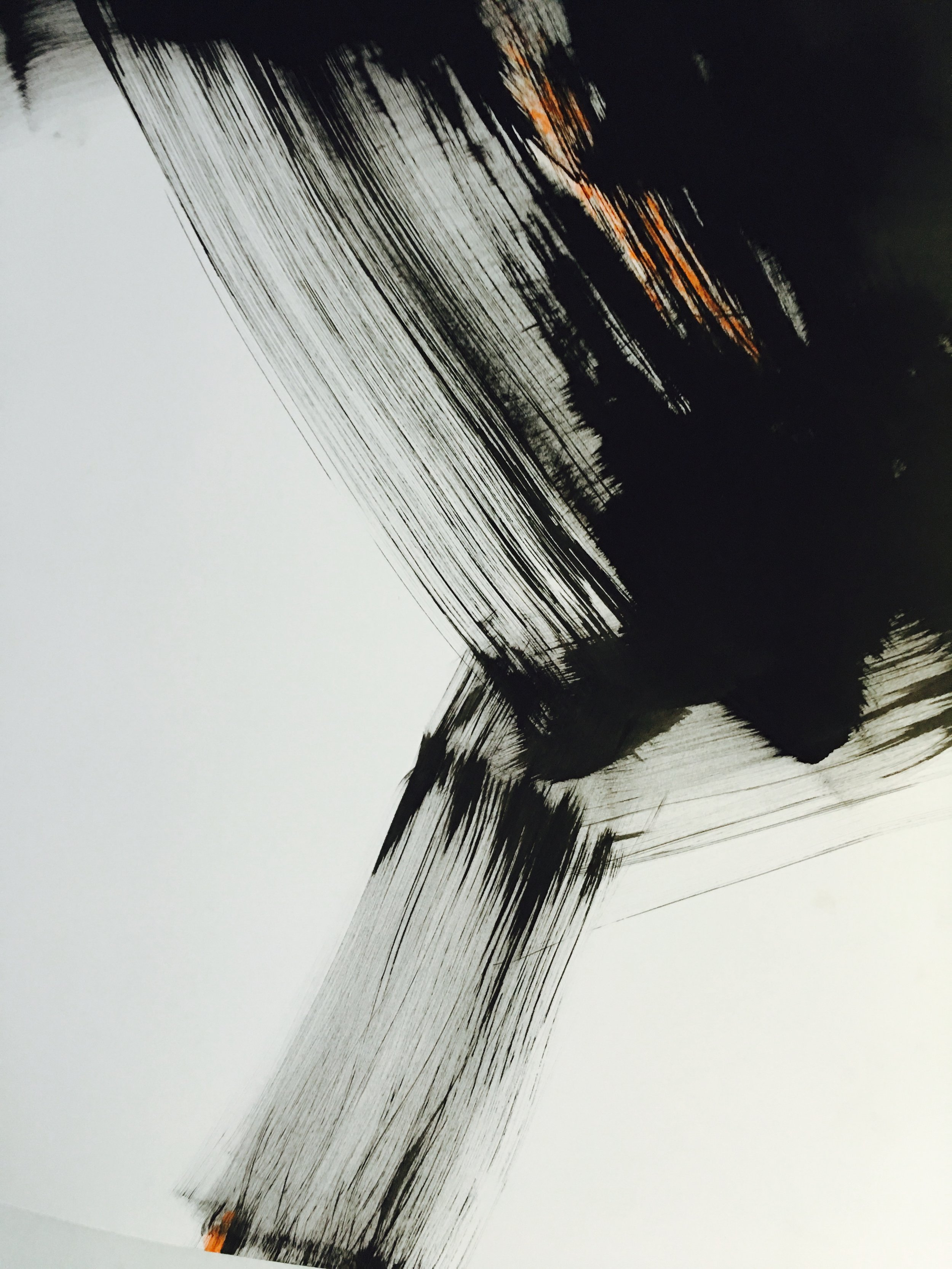 "Samurai Dance Tango. 18""x 24"". Charcoal ink, water color. 2014"