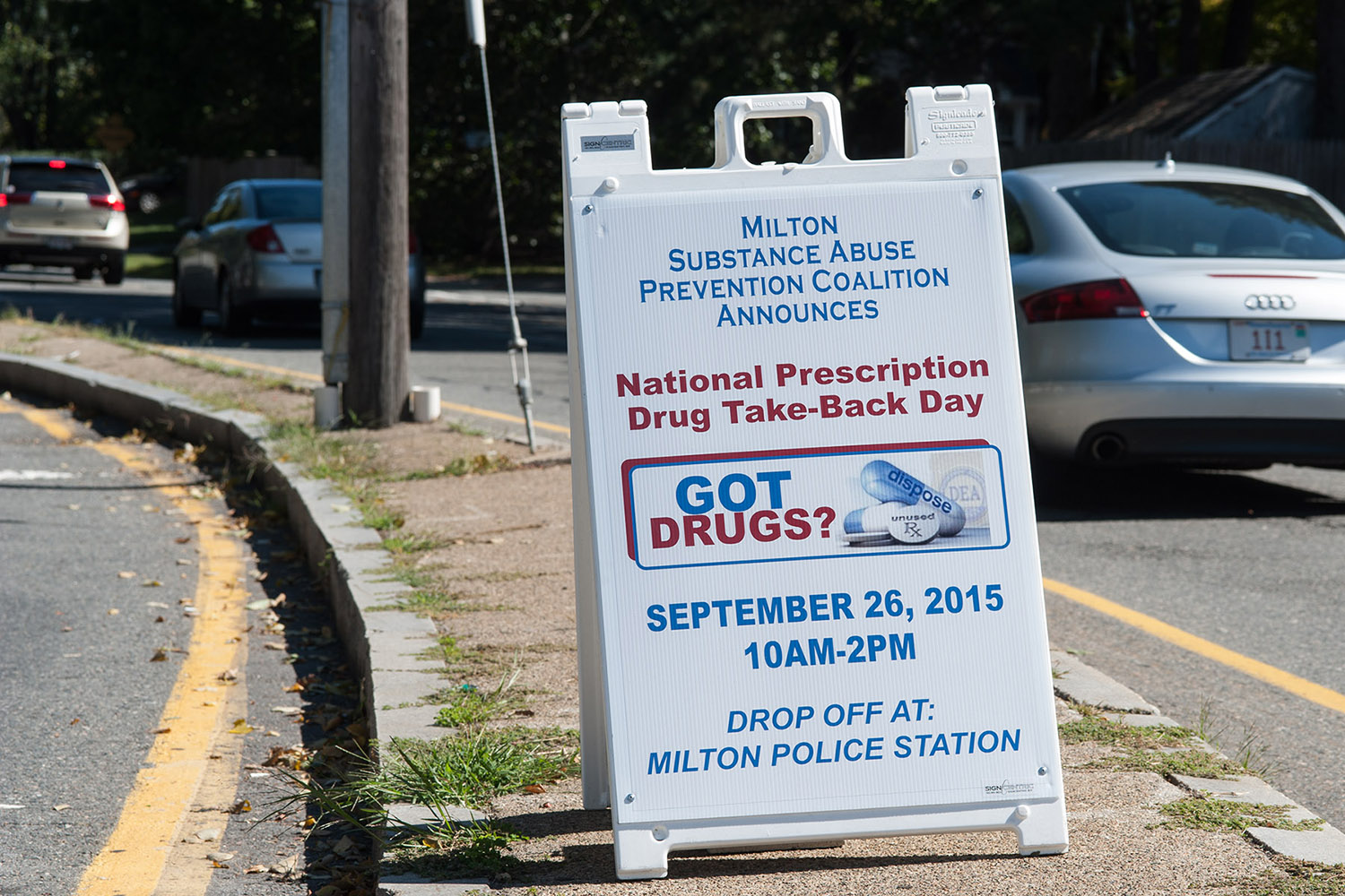 The Milton Coalition placed highly visible signs throughout town to raise awareness of Milton't participation in the national Prescription Drug Take-Back Day program.