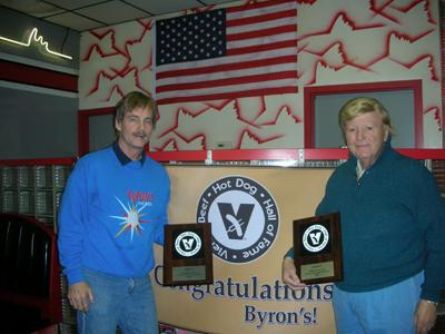 Mike and Byron, accepting the Vienna Beef Hot Dog Hall of Fame Award in 2006.