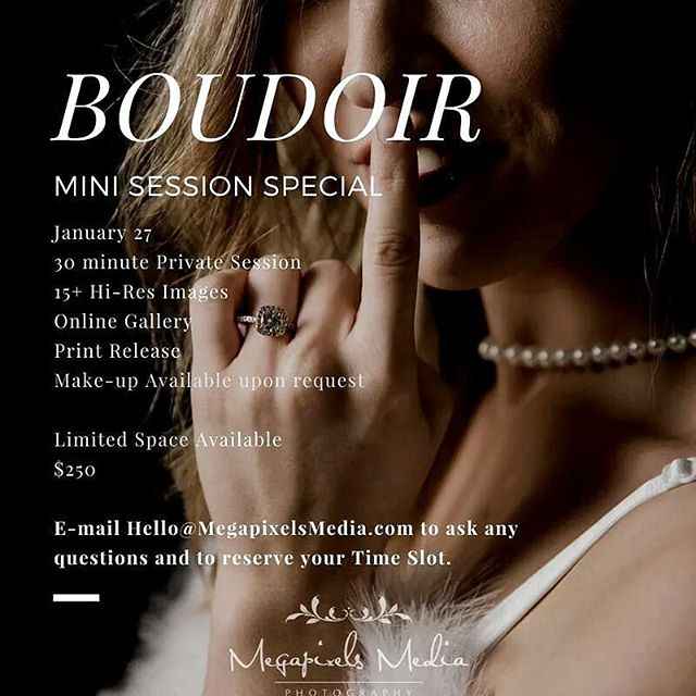 The Date is set! On the fence about doing Boudoir Photos? Here is the perfect opportunity to book a Boudoir Mini Session ($200 off of our normal price) just in time for Valentine's Day.  Contact us at HELLO@MEGAPIXELSMEDIA.COM to ask any questions and to book your time slot. (Limited Space Available)  See more of our work 👉 @megapixelsmedia