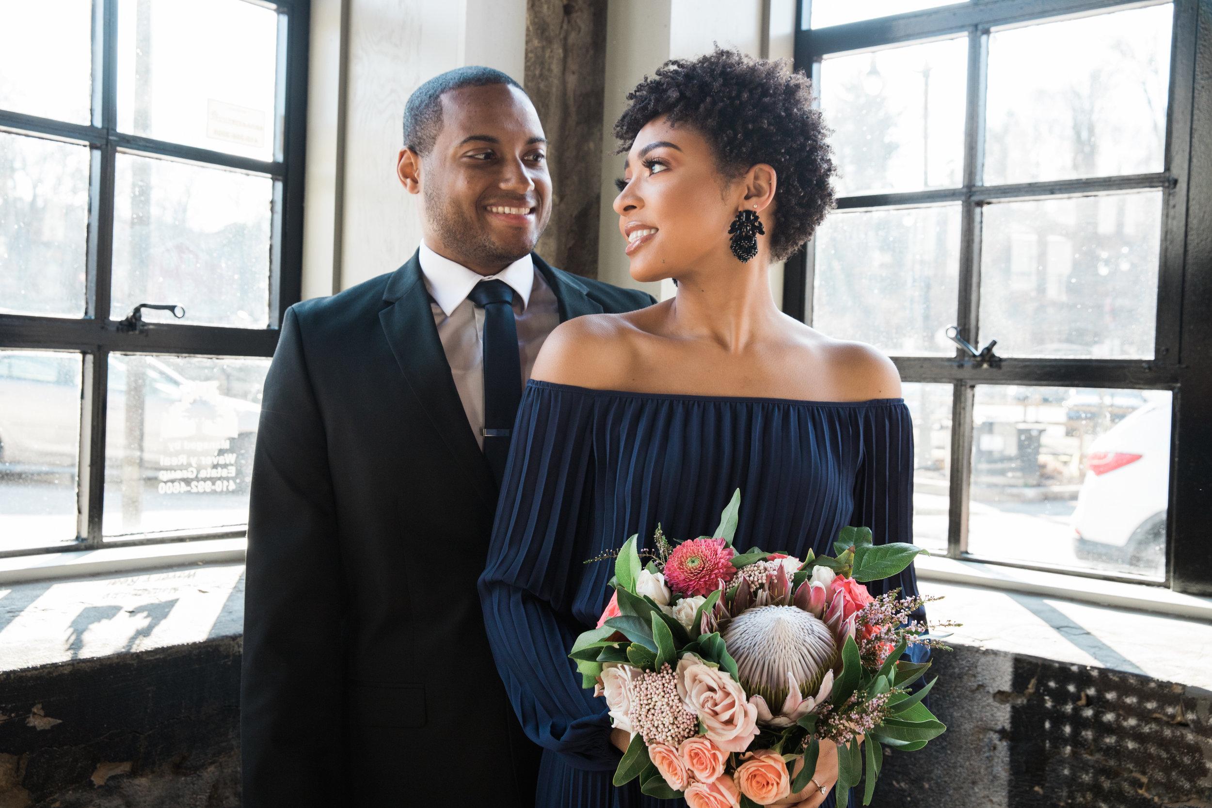 Natural Hair Black Bride in Baltimore Main Street Ballroom Engagement Session by Megapixels Media Photography-14.jpg