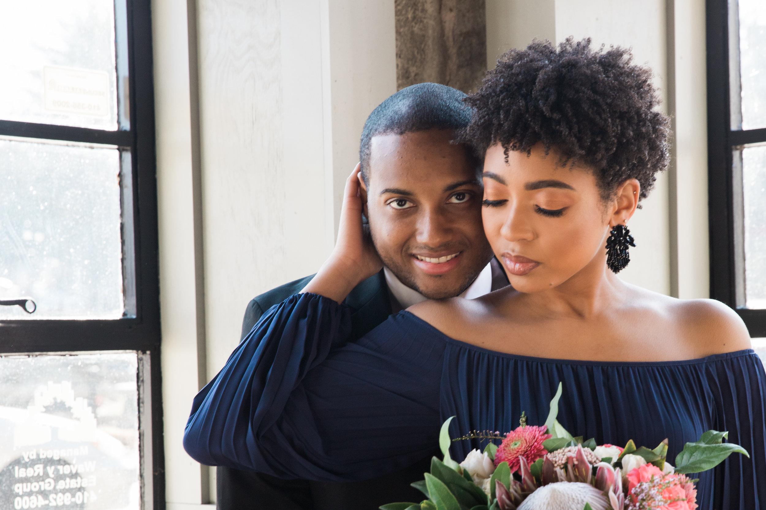 Natural Hair Black Bride in Baltimore Main Street Ballroom Engagement Session by Megapixels Media Photography-17.jpg
