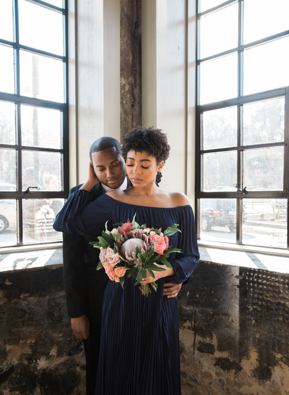 Natural Hair Black Bride in Baltimore Main Street Ballroom Engagement Session by Megapixels Media Photography-18.jpg