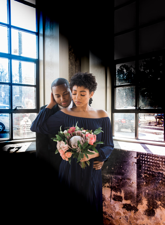 Natural Hair Black Bride in Baltimore Main Street Ballroom Engagement Session by Megapixels Media Photography-20.jpg
