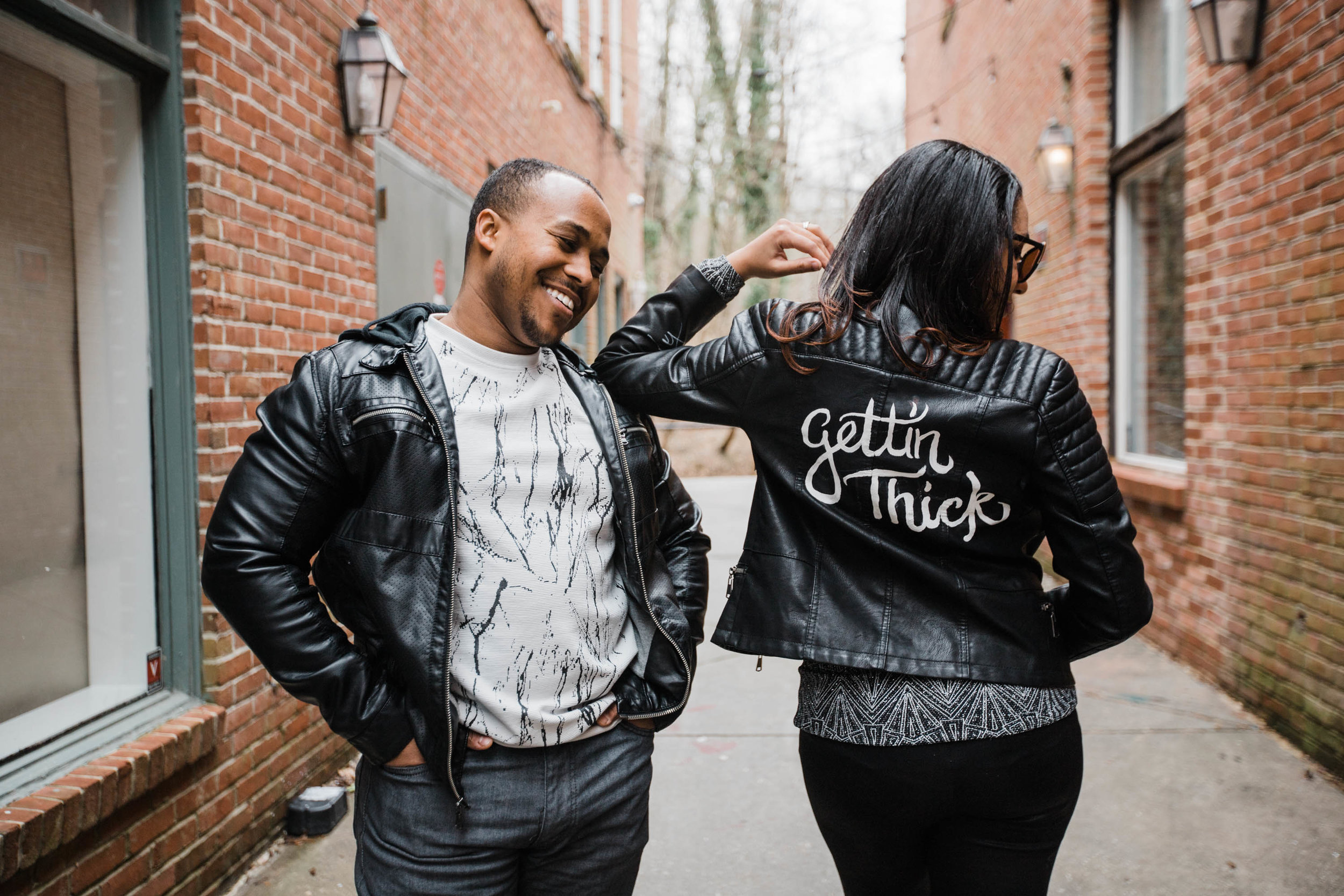 Hand lettered Black Leather jacket Pregnancy Announcement Baltimore Maternity Photographer Megapixels Media Photography-3.jpg