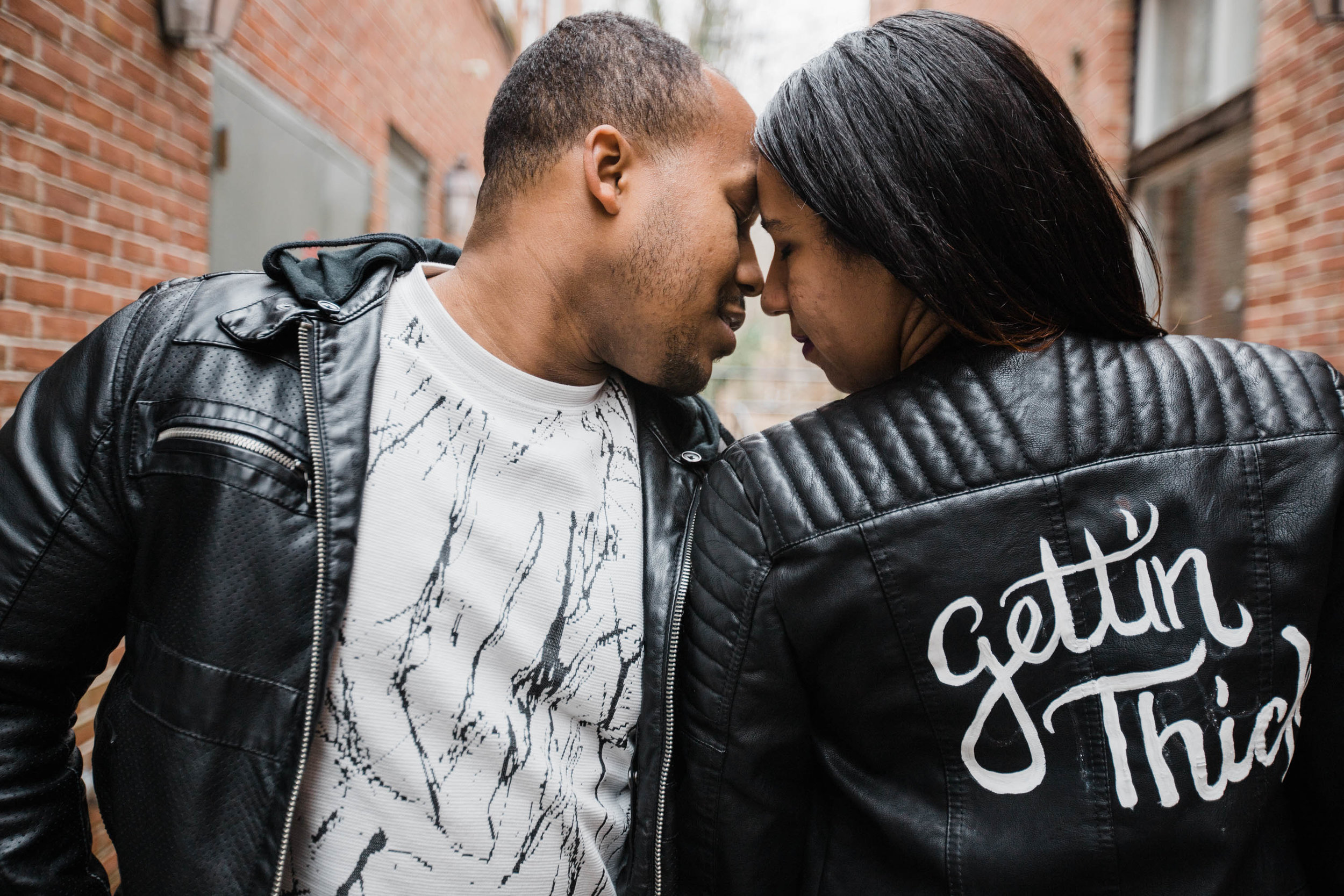Hand lettered Black Leather jacket Pregnancy Announcement Baltimore Maternity Photographer Megapixels Media Photography-14.jpg