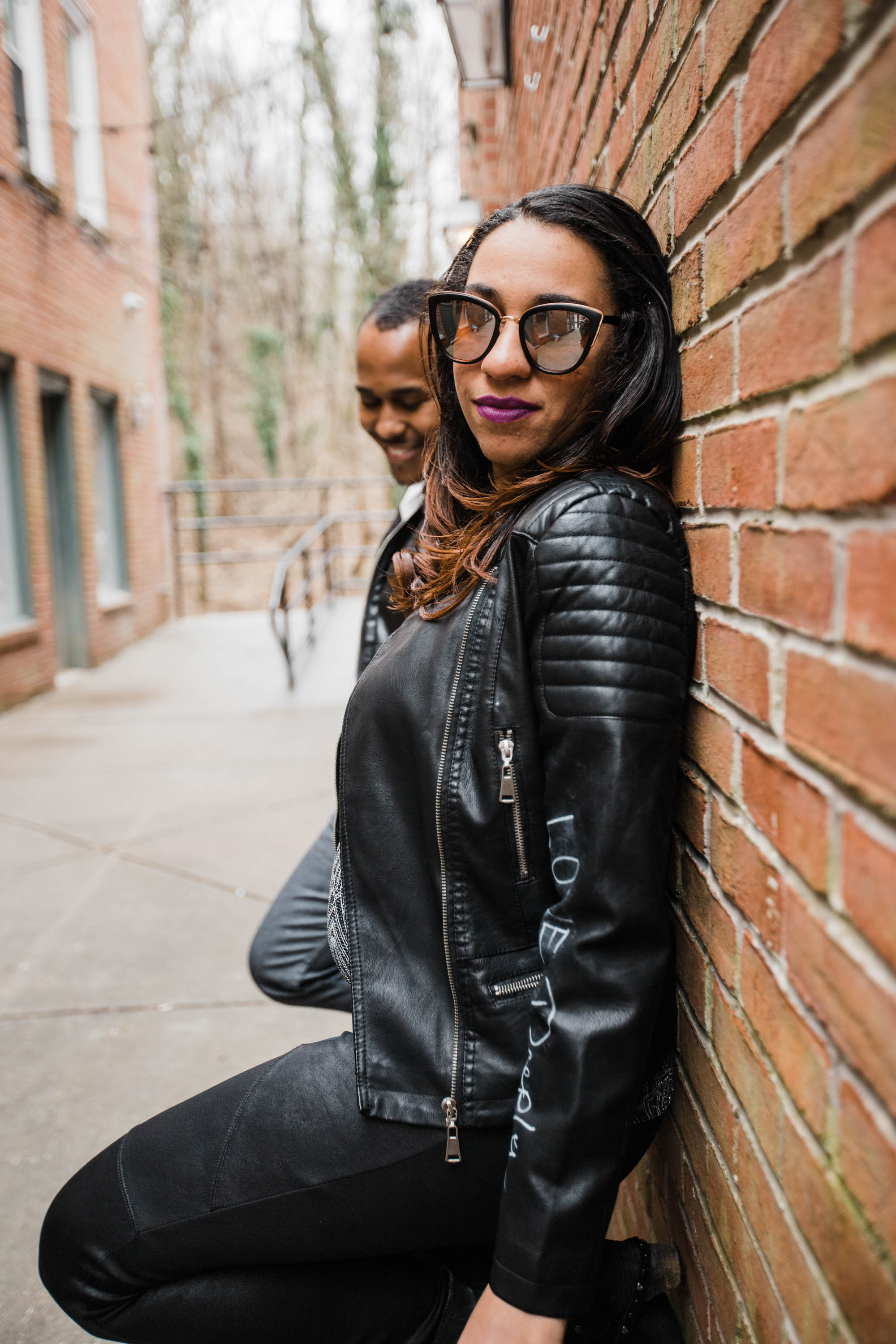 Hand lettered Black Leather jacket Pregnancy Announcement Baltimore Maternity Photographer Megapixels Media Photography-19.jpg