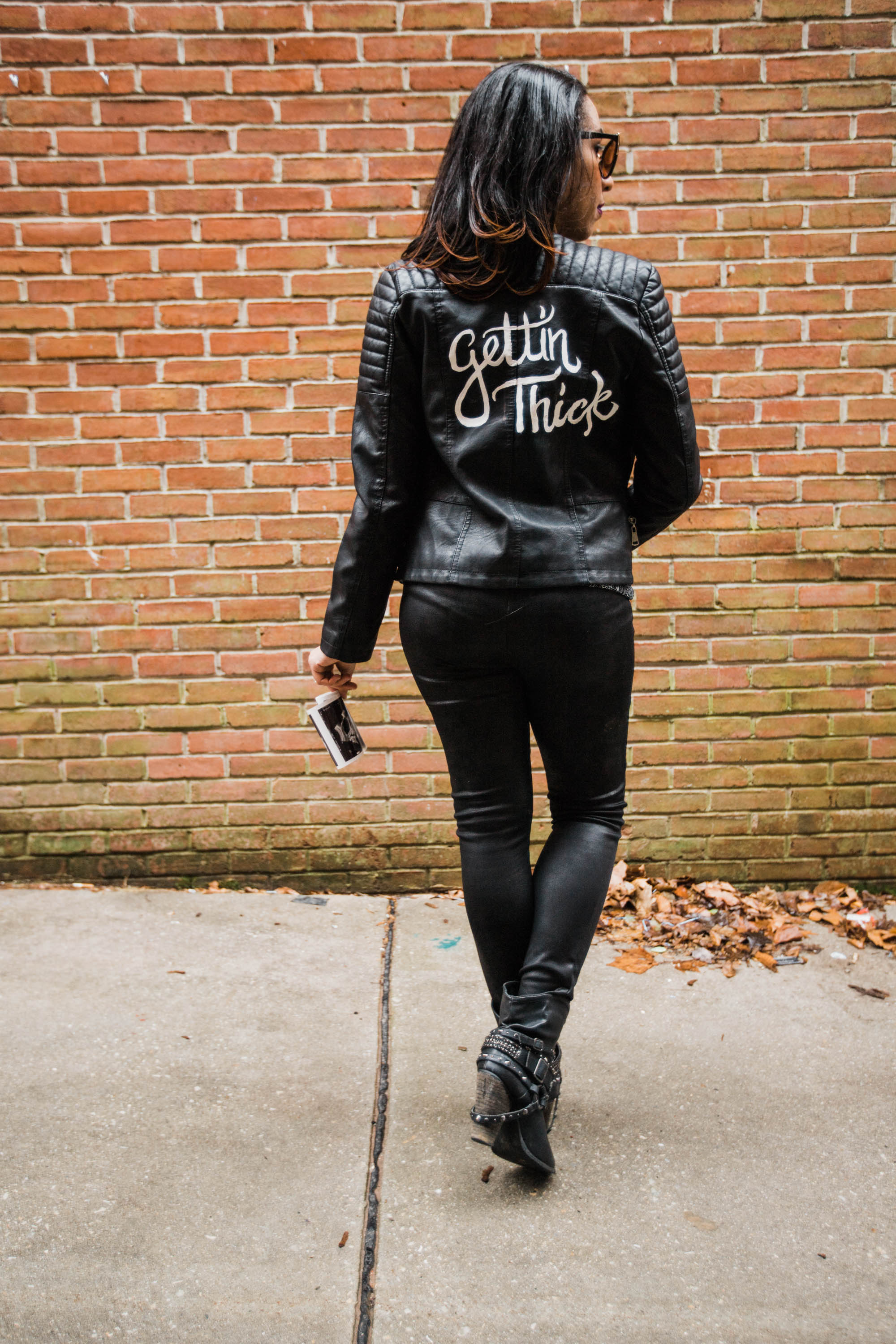Hand lettered Black Leather jacket Pregnancy Announcement Baltimore Maternity Photographer Megapixels Media Photography-38.jpg