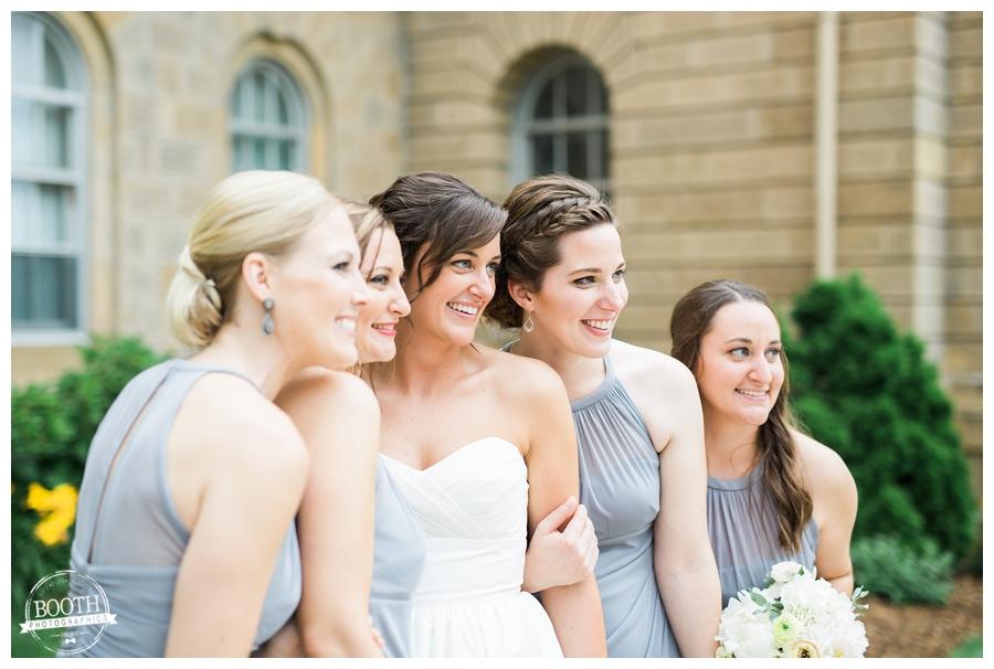 bridal party at Bascom Hall at the UW Madison