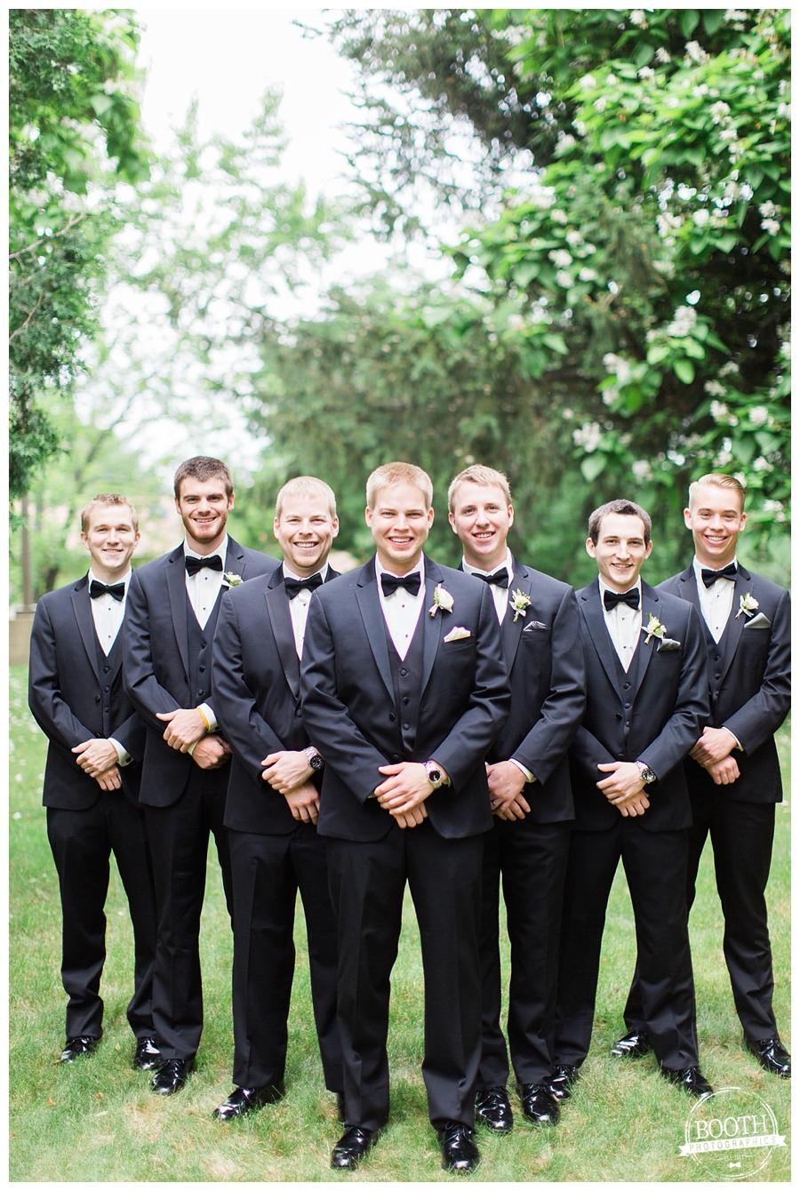 groomsmen together at an elegant UW Madison wedding