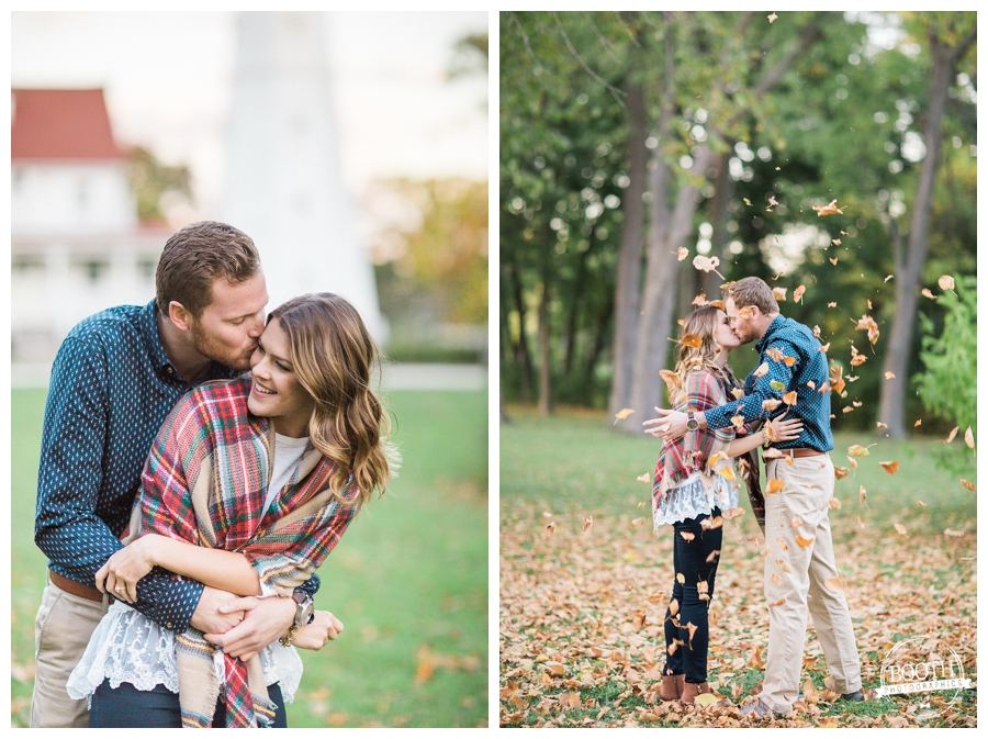 couple hugging and laughing at Lake Park in Milwaukee in the fall