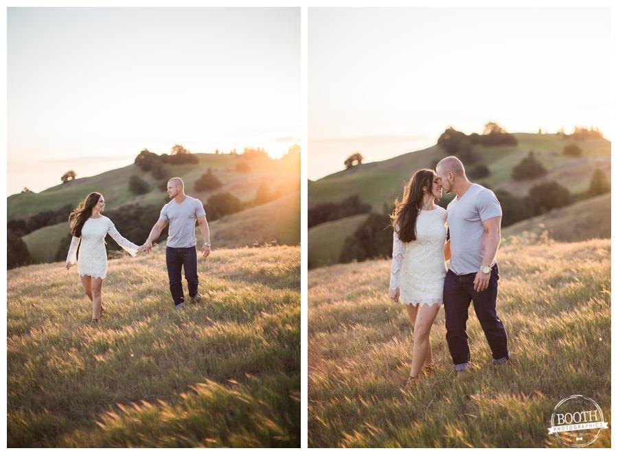 lifestyle engagement photo of a couple walking on Bolinas Ridge at Mt Tamalpais at sunset