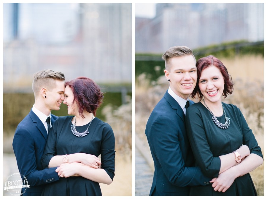Fine art wedding photography of an engaged couple hugging in Millenium Park in downtown Chicago, IL