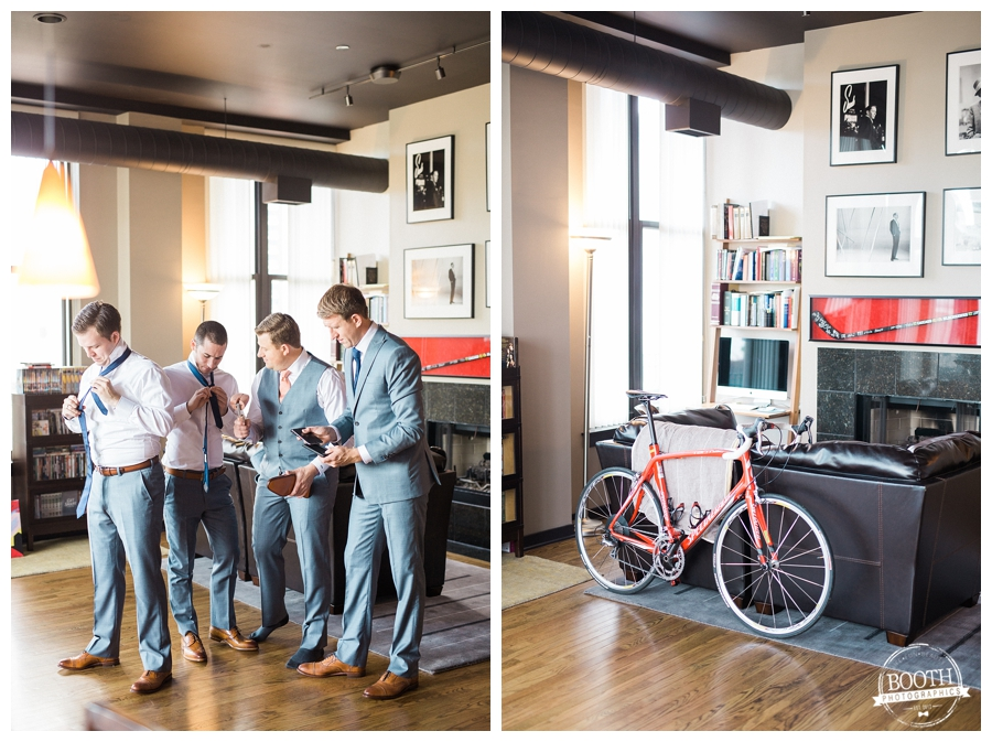 groom getting ready with his groomsmen in his downtown Chicago condo, photographed by Booth Photographics, Chicago fine art wedding photography
