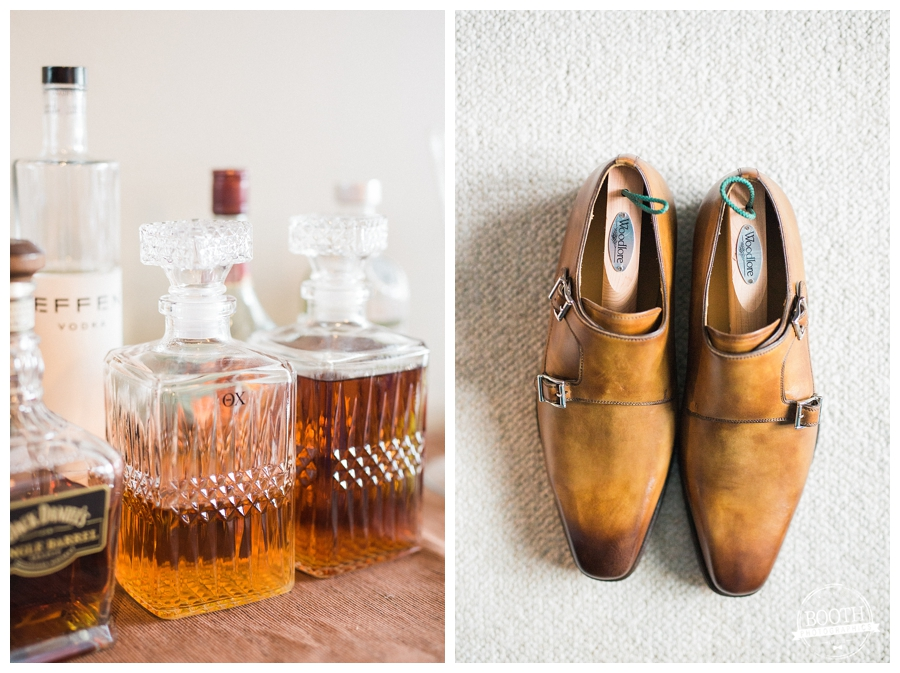 groom's shoes and wedding day bourbon, photographed by Booth Photographics, Chicago fine art wedding photography