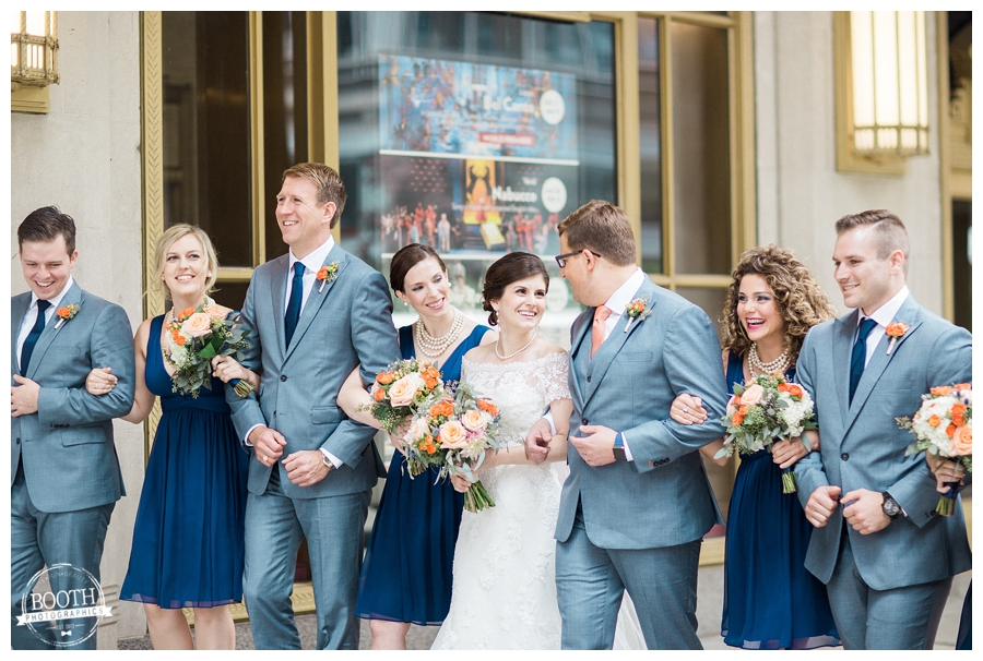 bridal party at the Lyric Opera in downtown Chicago, IL