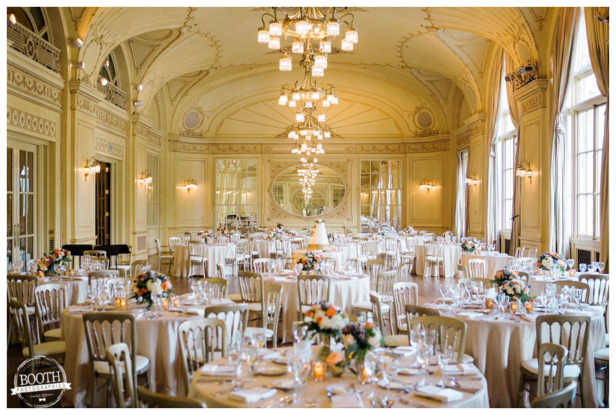 classic and elegant wedding reception at Grainger Ballroom, Chicago Symphony Orchestra Center