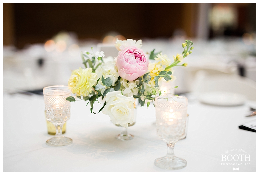 peony compote centerpiece at black tie wedding in Madison, WI
