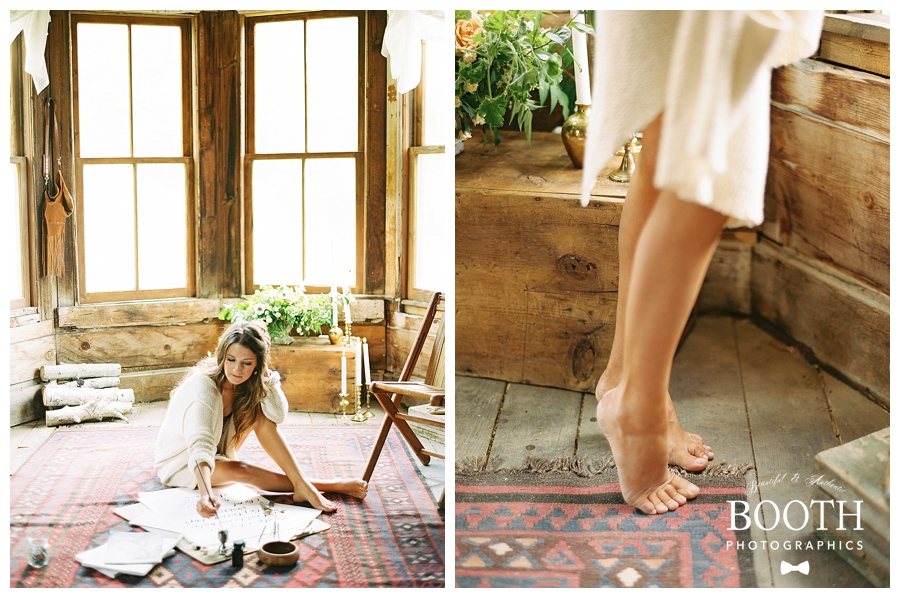 rustic cabin bridal boudoir session in Ouray, Colorado