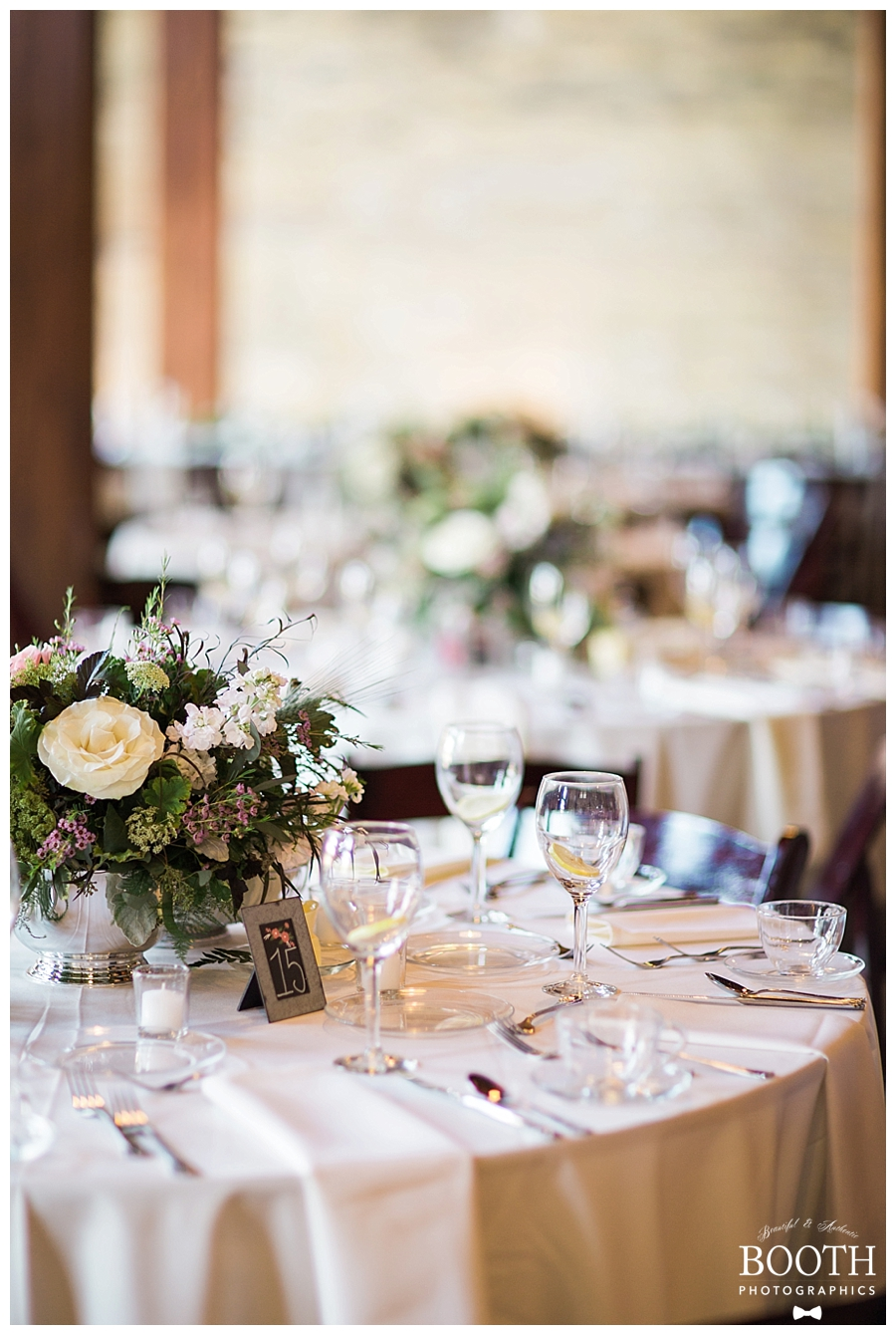 tablescapes at a romantic, industrial wedding at the Pritzlaff Events