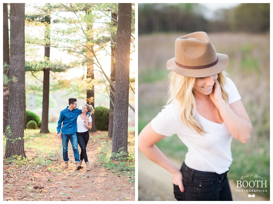Kinfolk style engagement session in tall pine forest.