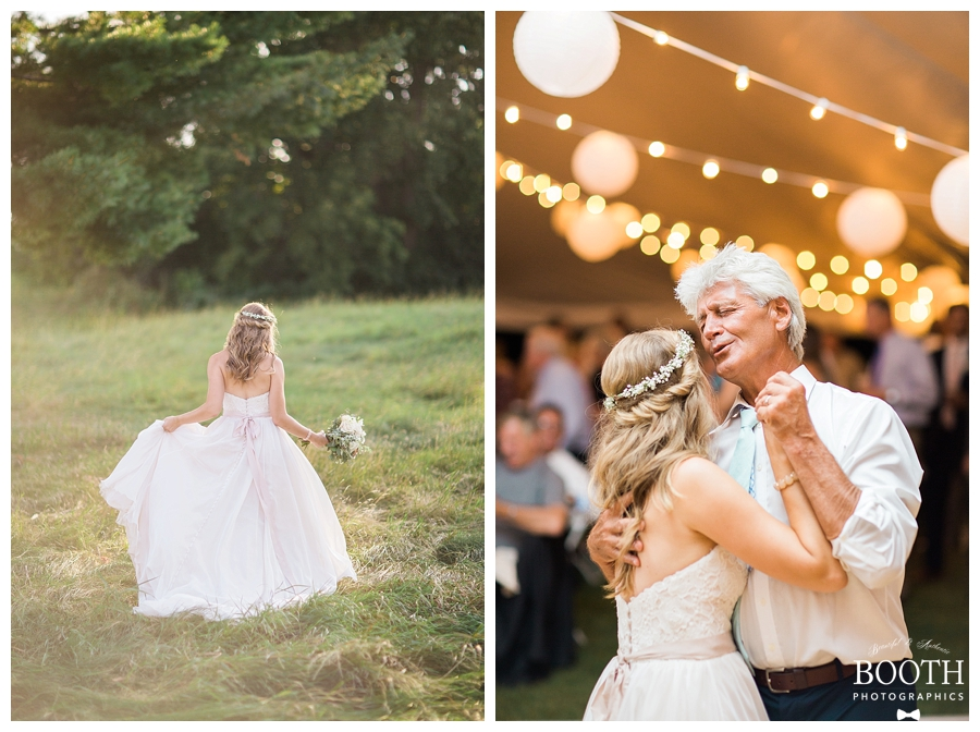 bride walking through a field wearing a floral crown at her rustic outdoor wedding
