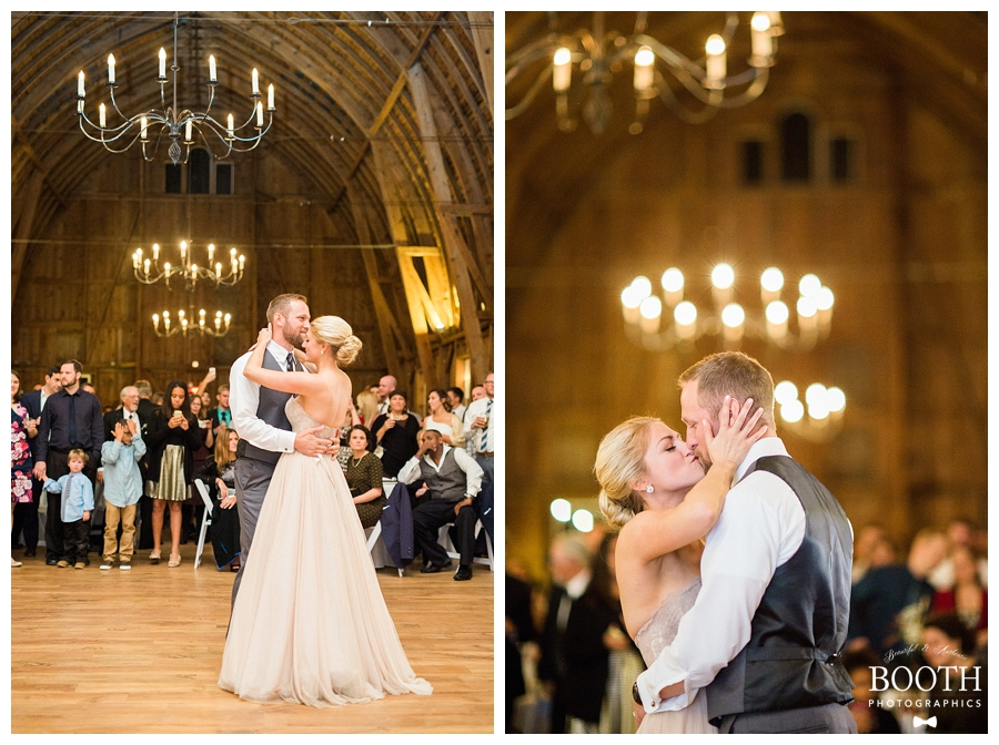 Bride and groom's first dance in a historic barn