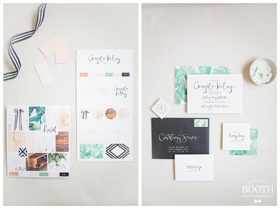 blush, green, and white mid-century modern inspired invitation suite designed by Saffron Avenue